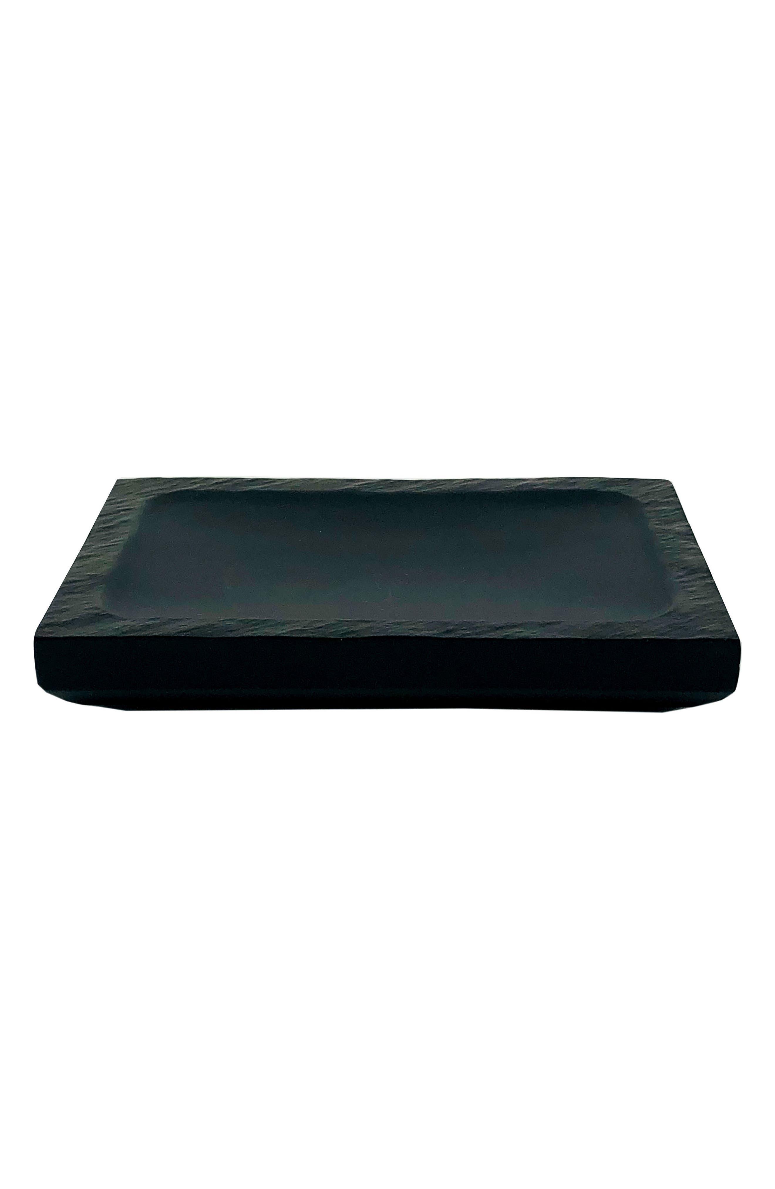 Clair Rectangle Soap Dish, Main, color, BLACK