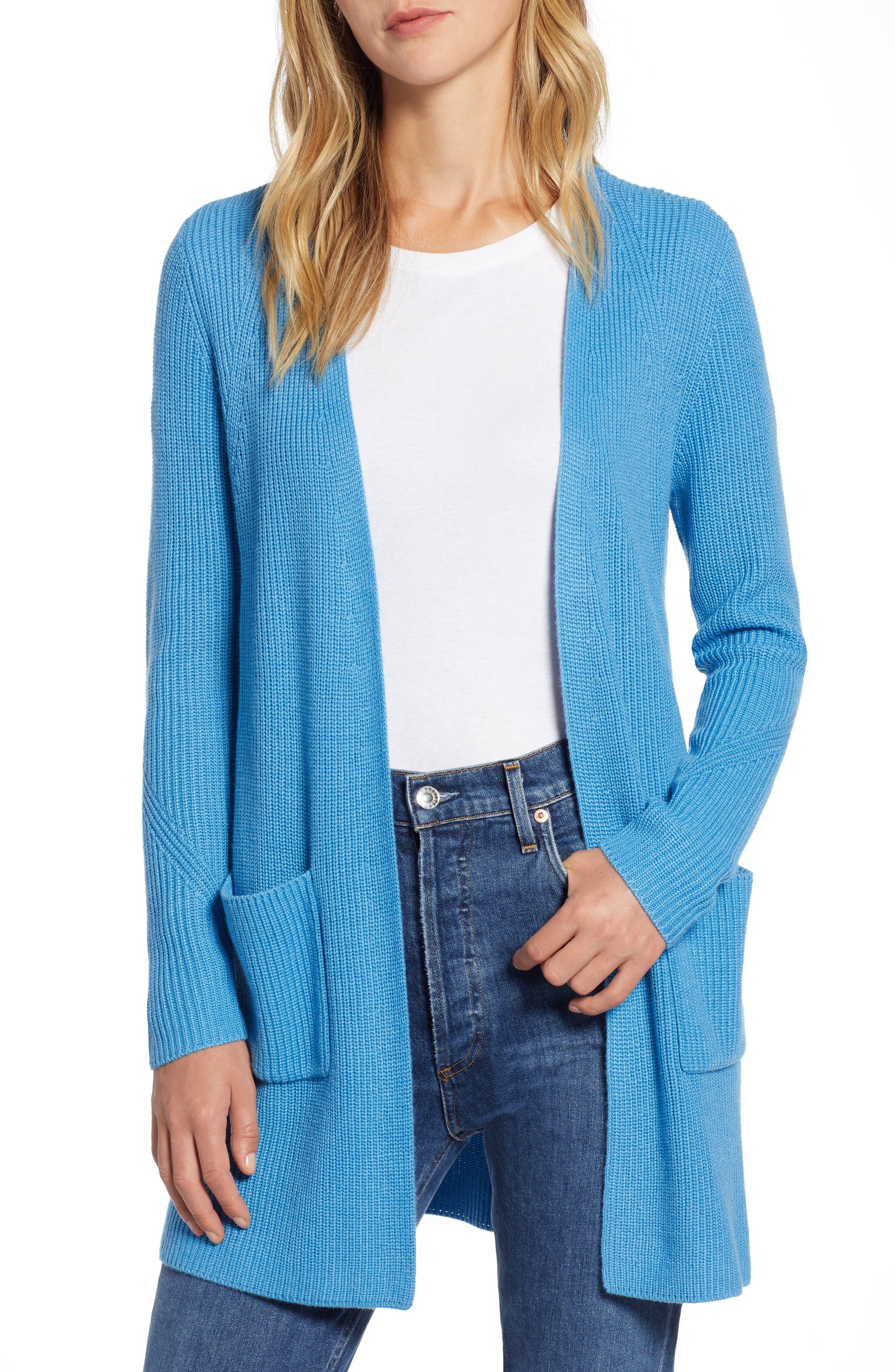 Petite Halogen Long Ribbed Cardigan, Blue