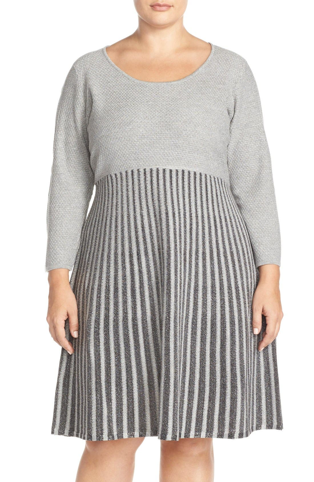 Scoop Neck Fit & Flare Sweater Dress, Main, color, 082