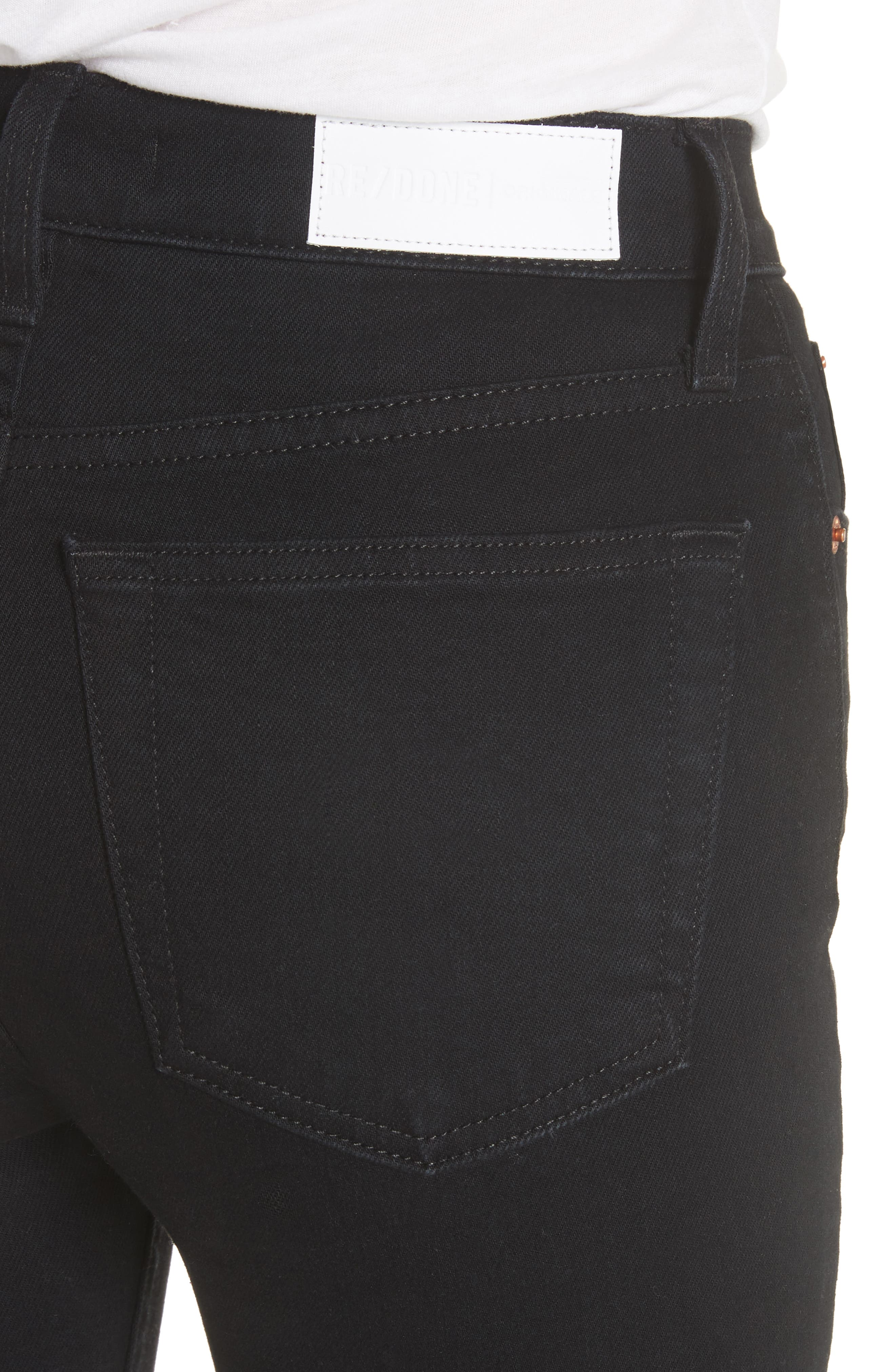 High Waist Stretch Ankle Jeans,                             Alternate thumbnail 4, color,                             001