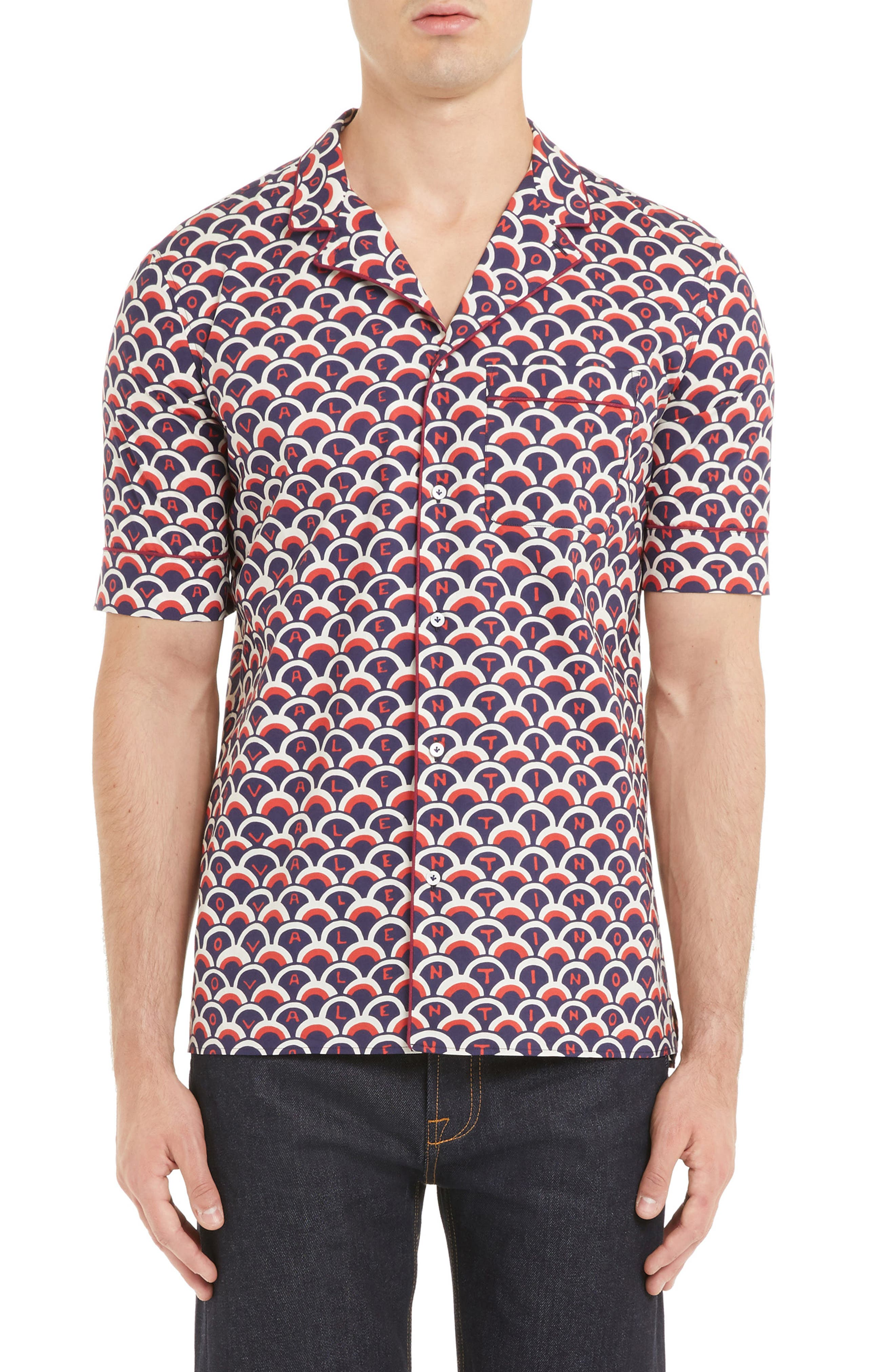 Scales Print Sport Shirt,                             Main thumbnail 1, color,                             VALENTINO SCALE BLUE