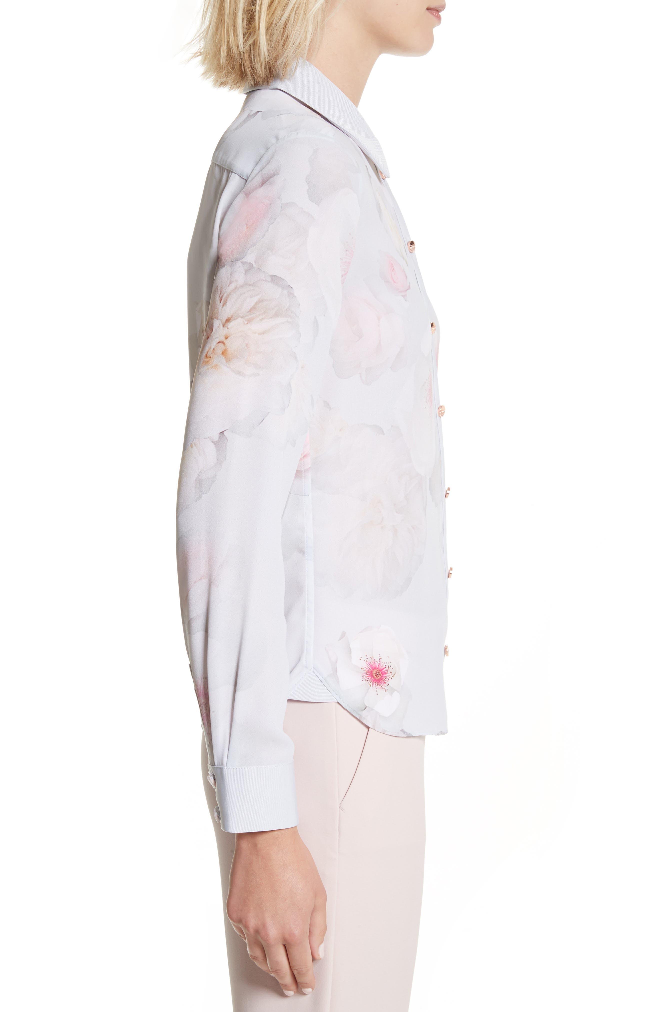 Relar Chelsea Grey Flower Print Shirt,                             Alternate thumbnail 3, color,                             021