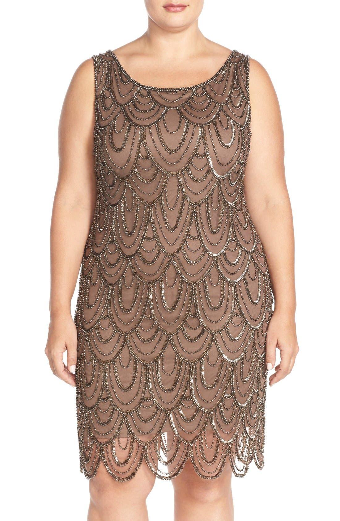 Beaded Sheath Dress,                             Main thumbnail 8, color,
