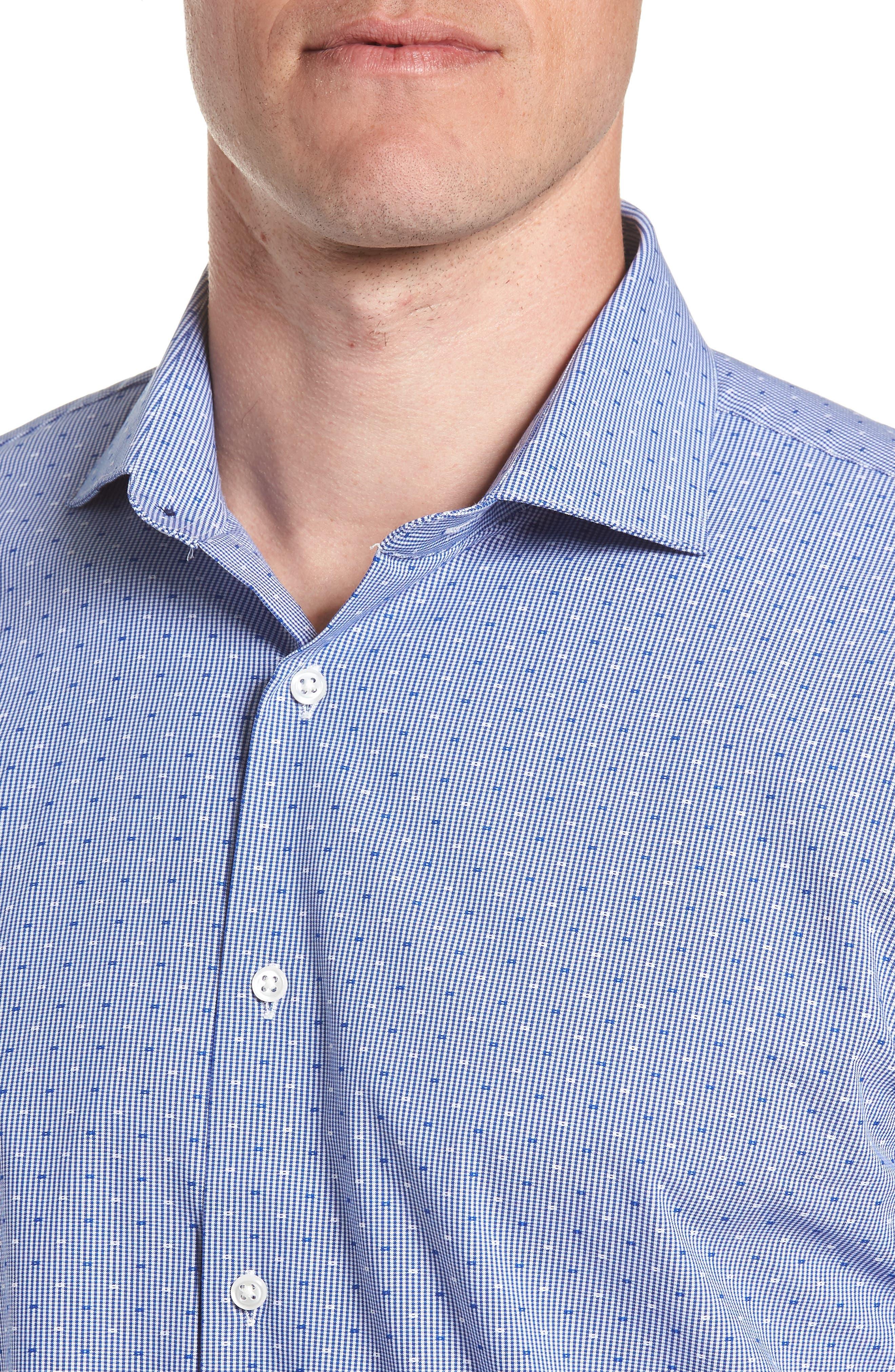 Tech-Smart Trim Fit Check Dress Shirt,                             Alternate thumbnail 2, color,