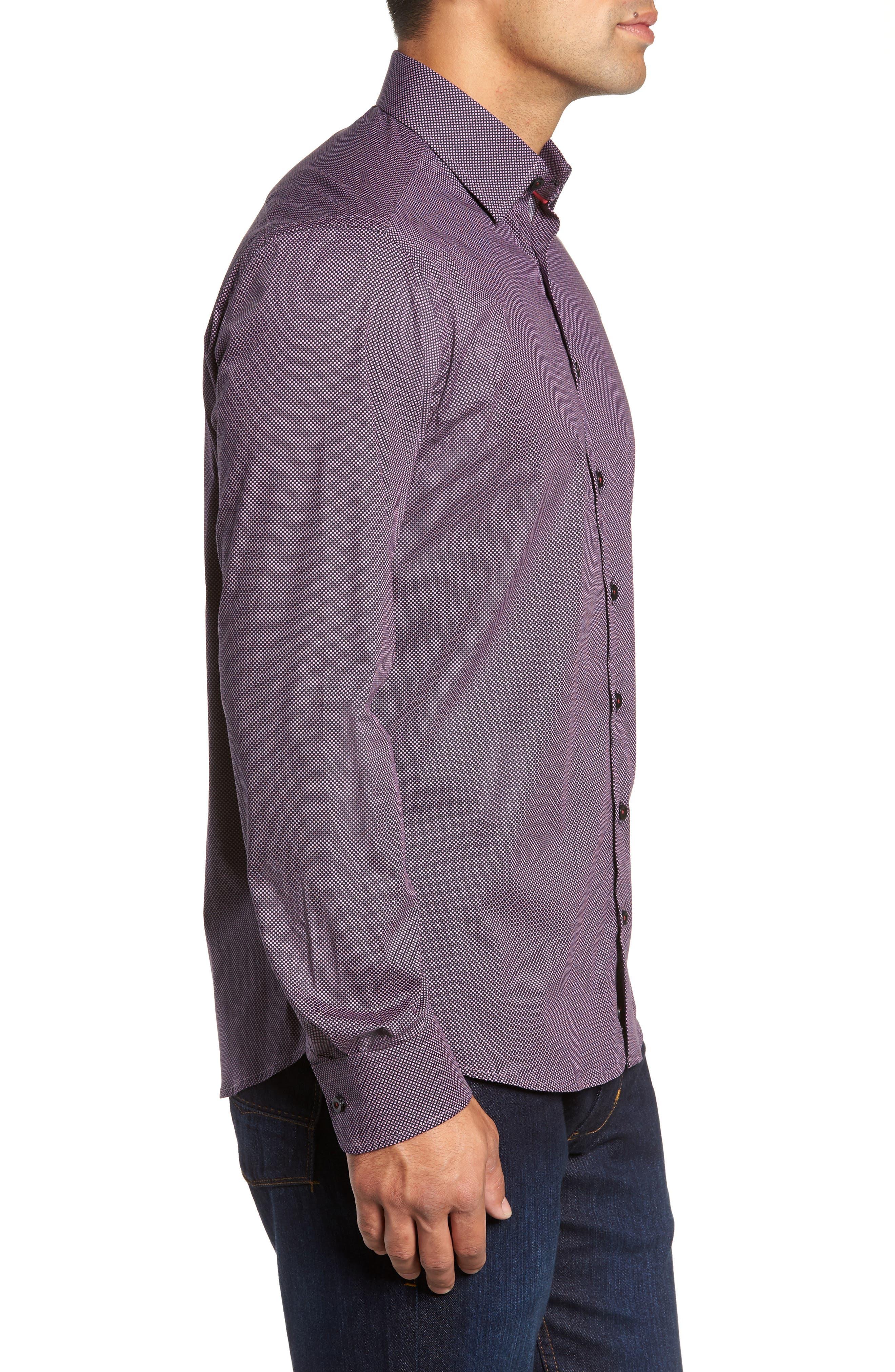 Regular Fit Microdot Sport Shirt,                             Alternate thumbnail 4, color,                             BLACK