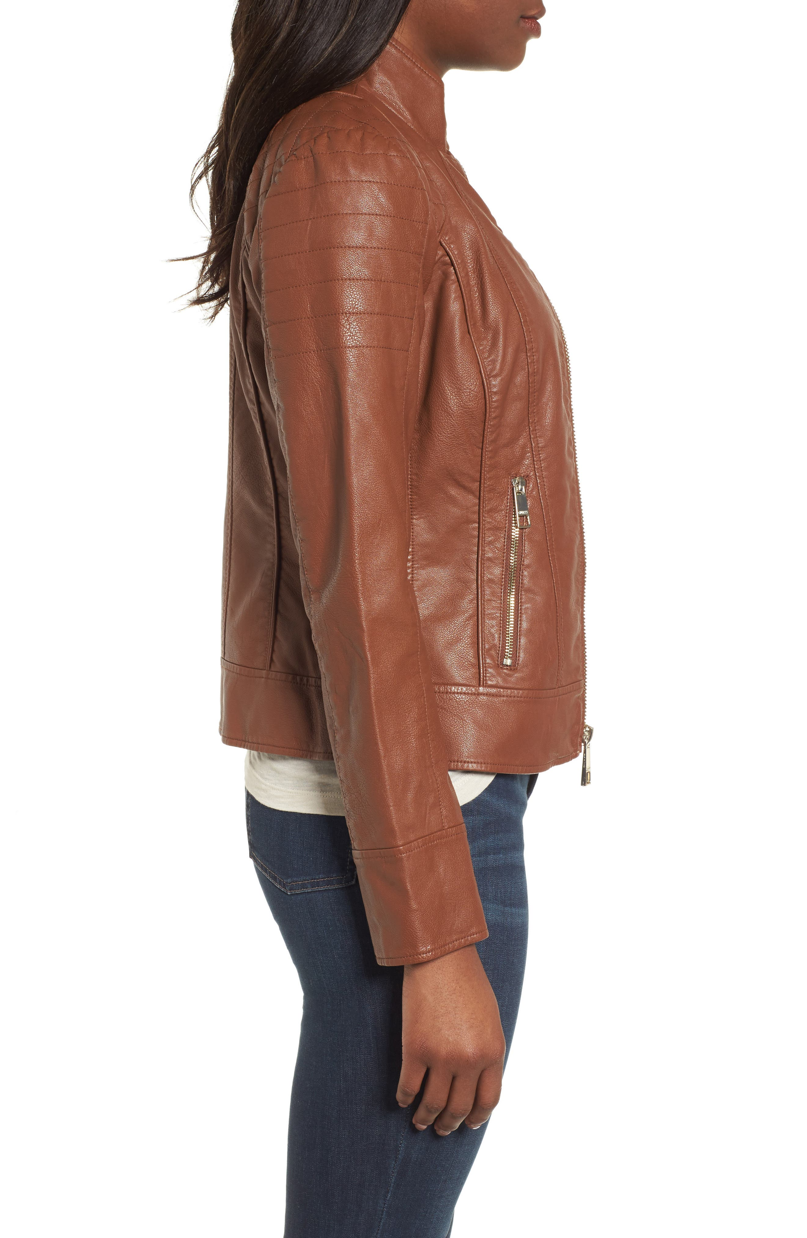Side Lace Faux Leather Jacket,                             Alternate thumbnail 7, color,