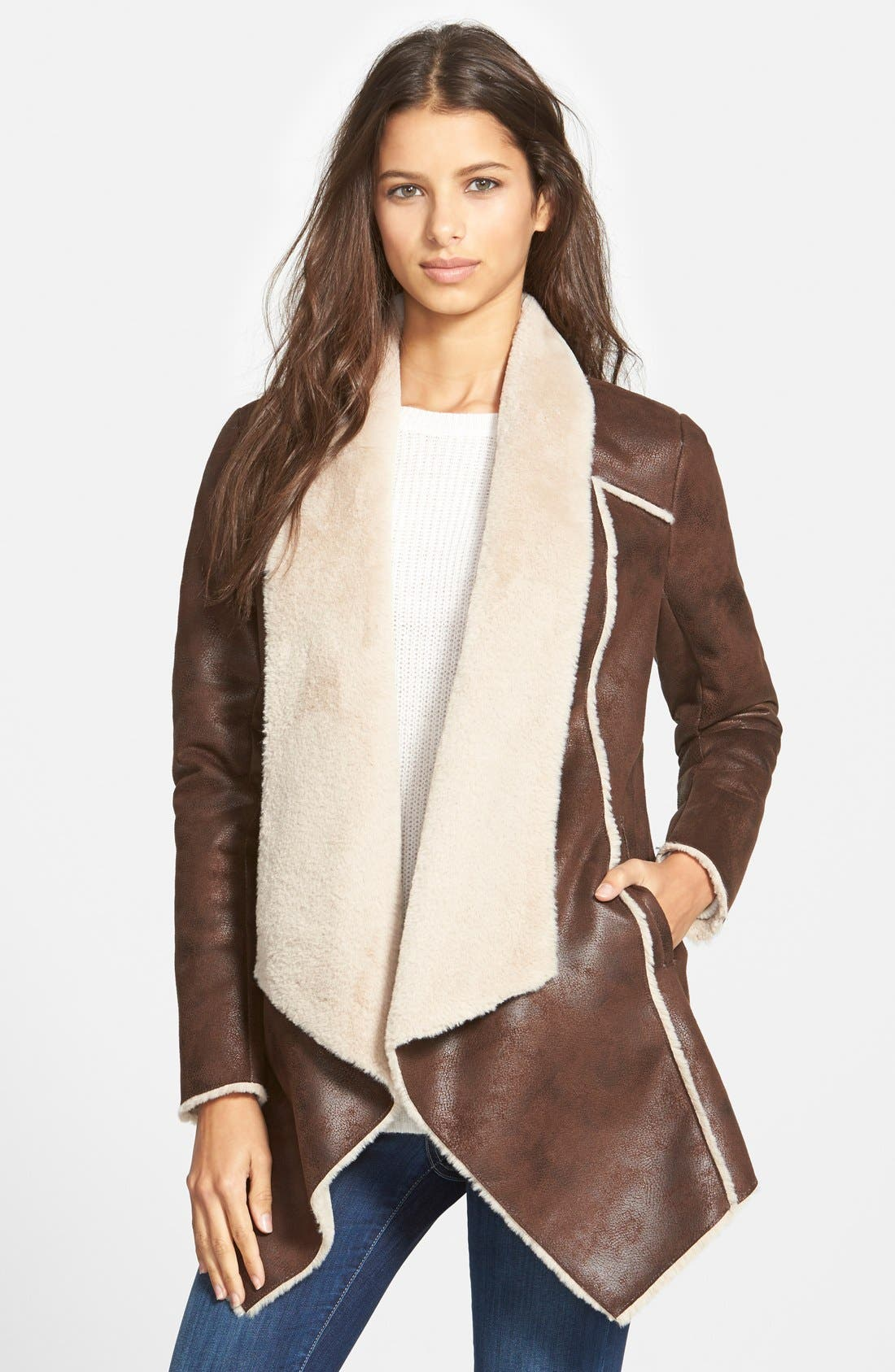 Faux Shearling Drape Front Coat,                         Main,                         color, 200