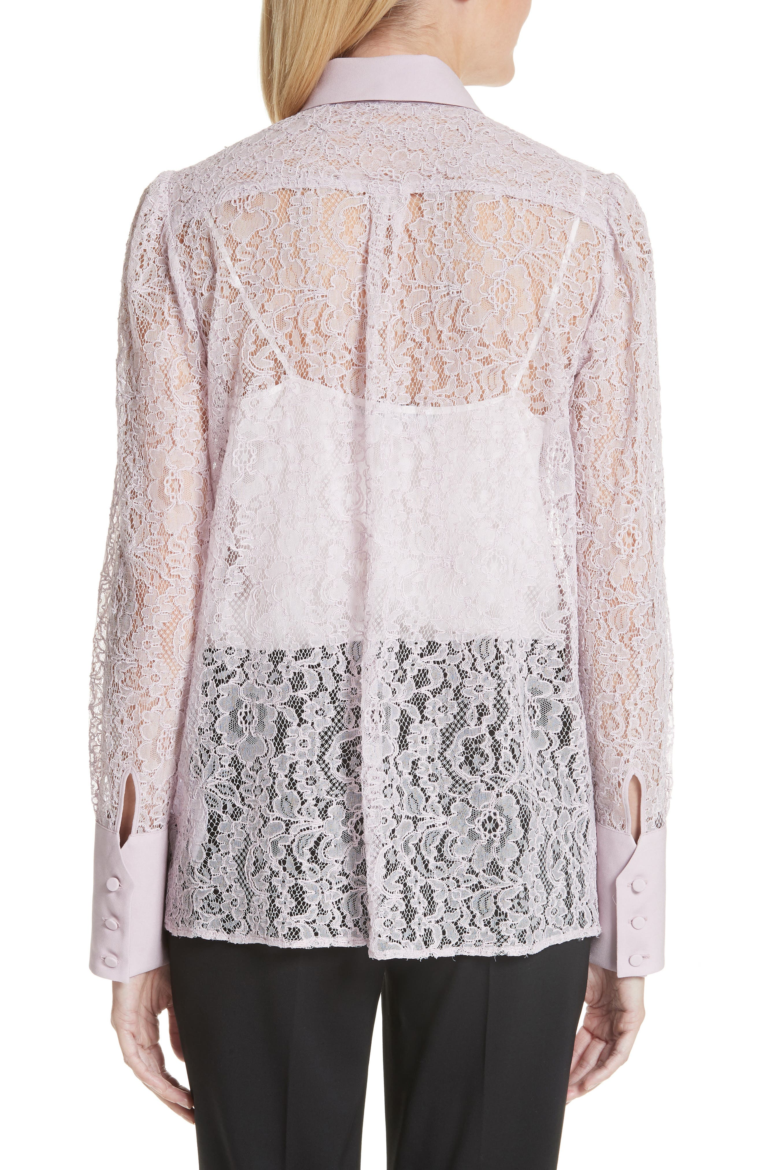 VALENTINO,                             Tie Neck Chantilly Lace Shirt,                             Alternate thumbnail 2, color,                             650