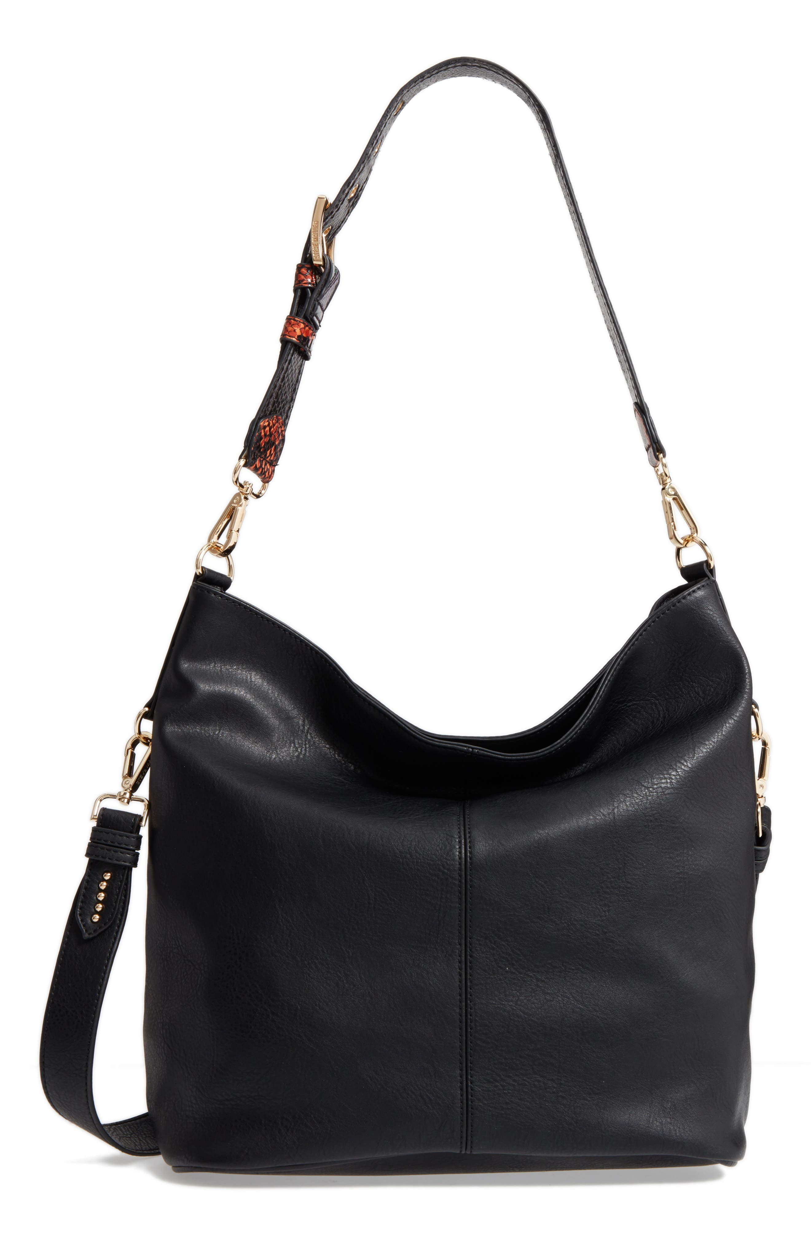 Faux Leather Hobo,                         Main,                         color, 001