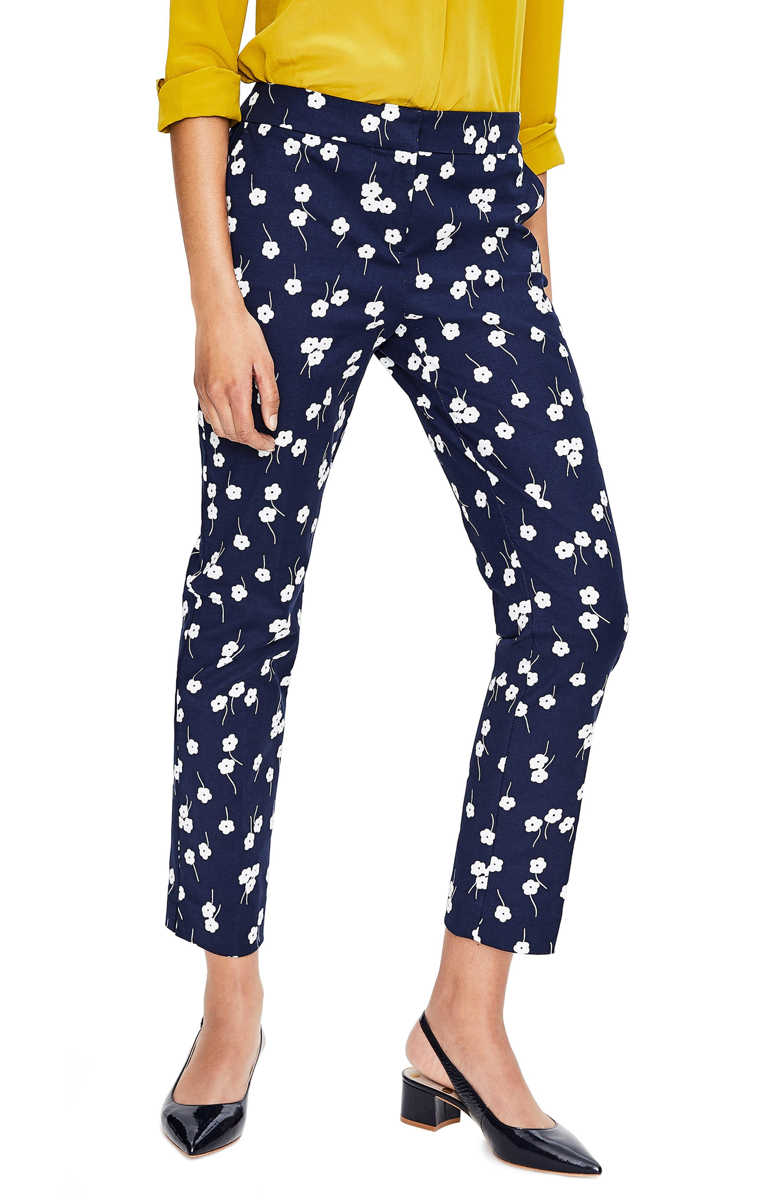 Richmond Polka Dot Stripe Contrast Ankle Pants,                         Main,                         color, 496