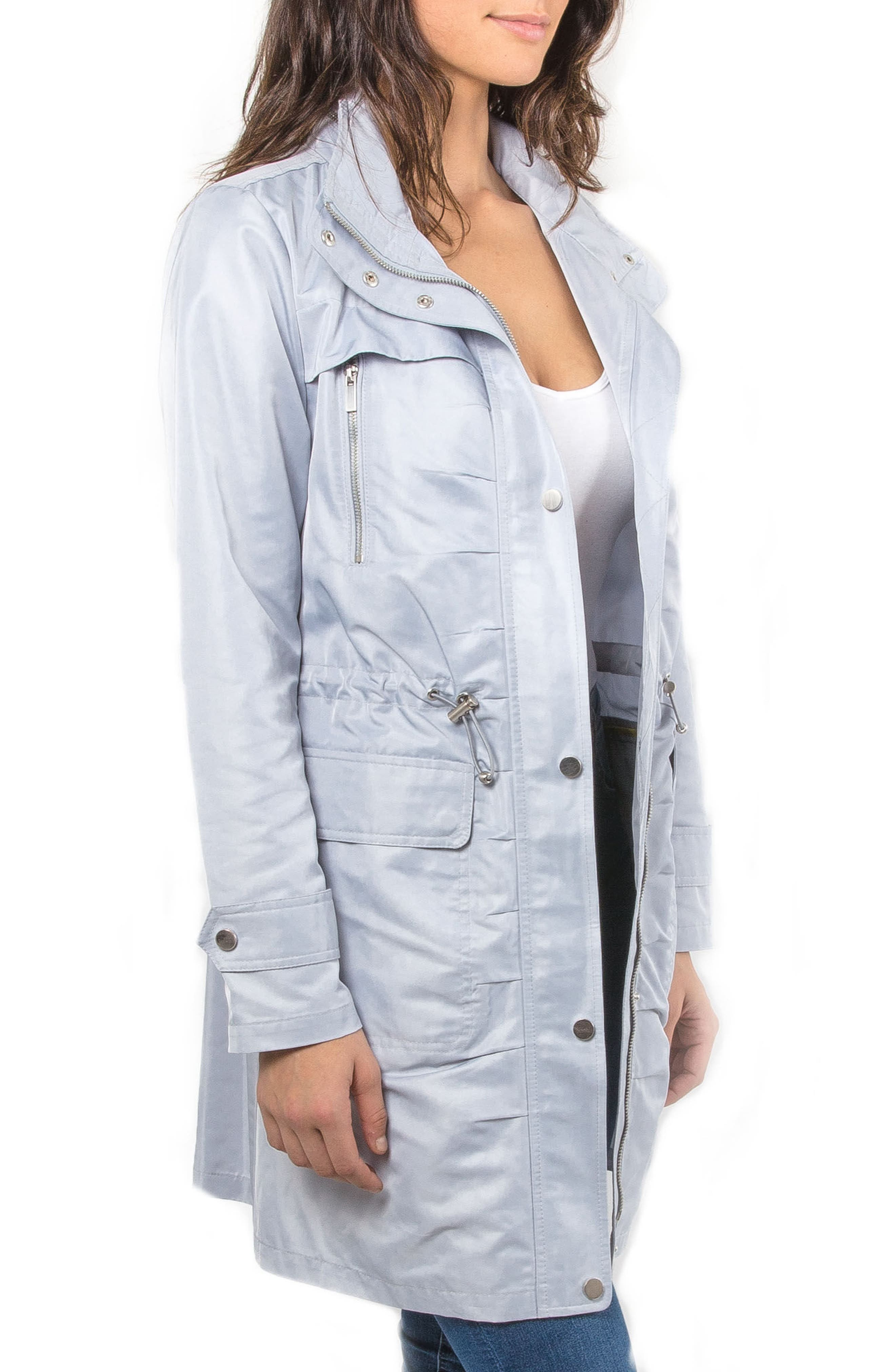 Badgley Mischka Ruched Water Repellent Anorak,                             Alternate thumbnail 3, color,                             457