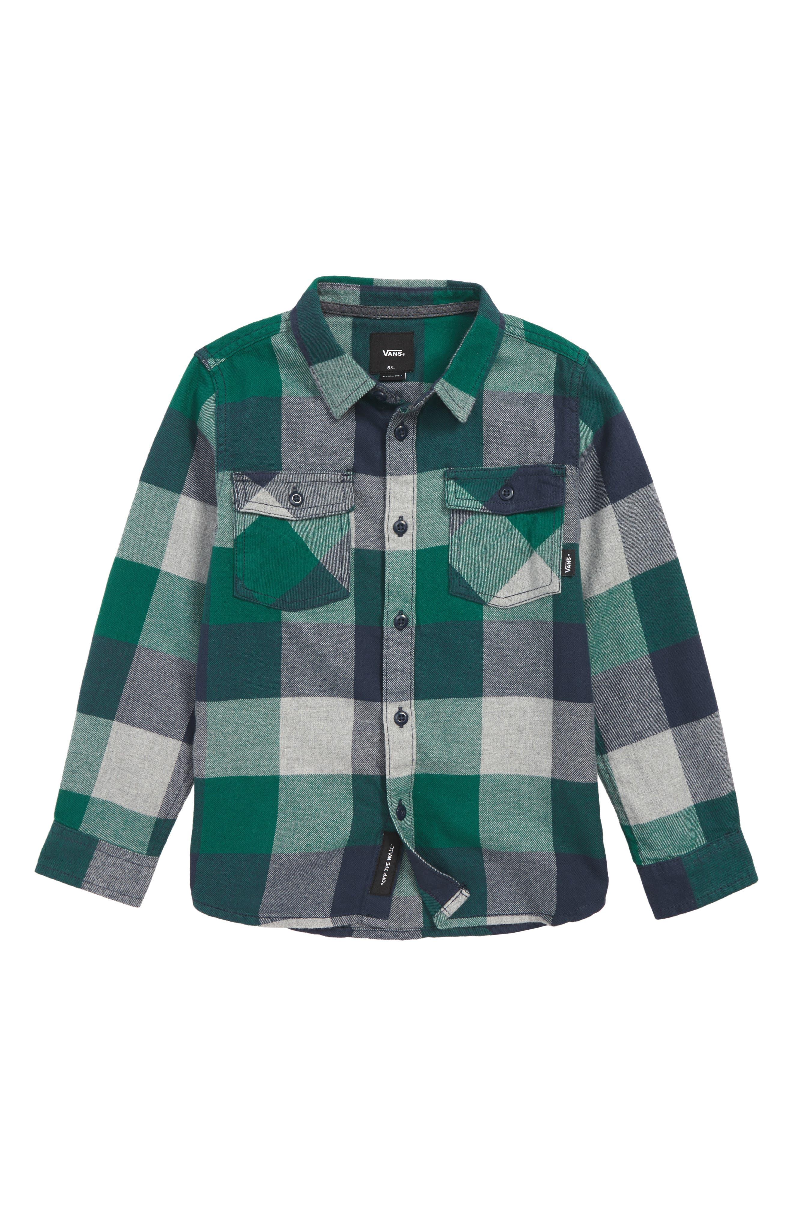 Box Check Flannel Shirt, Main, color, 310