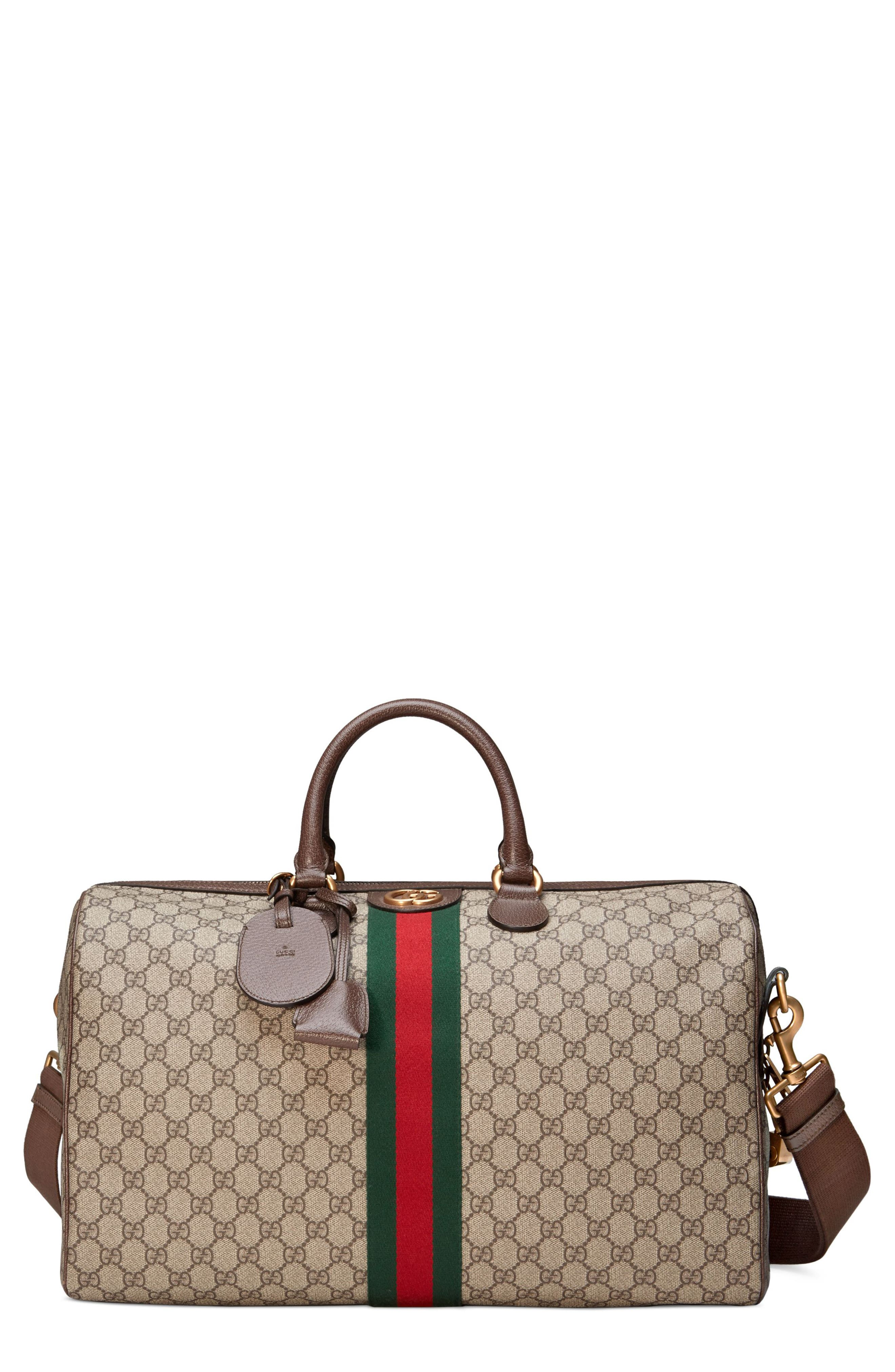 GUCCI,                             Medium Ophidia GG Supreme Carry-On Duffel,                             Main thumbnail 1, color,                             BEIGE EBONY/ NEW ACERO