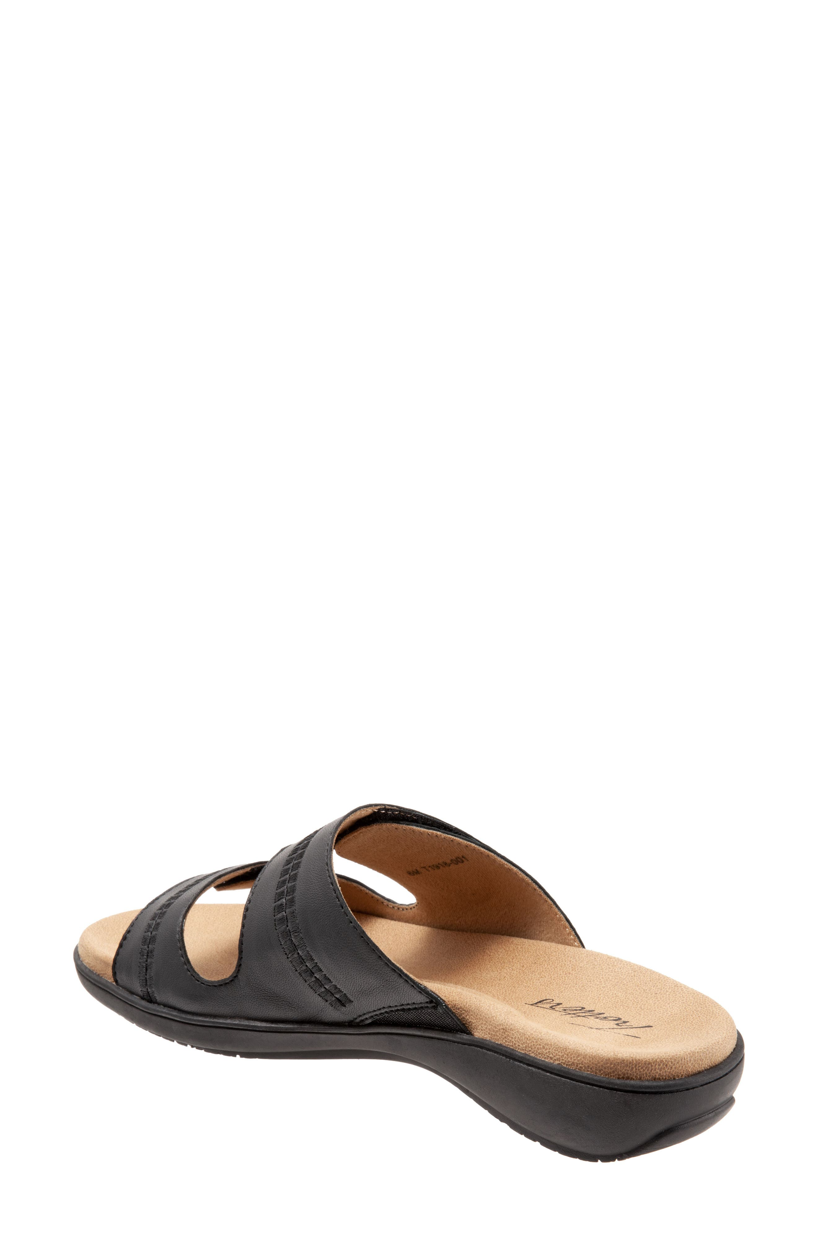 Vale Double Strap Slide Sandal,                             Alternate thumbnail 2, color,                             BLACK LEATHER