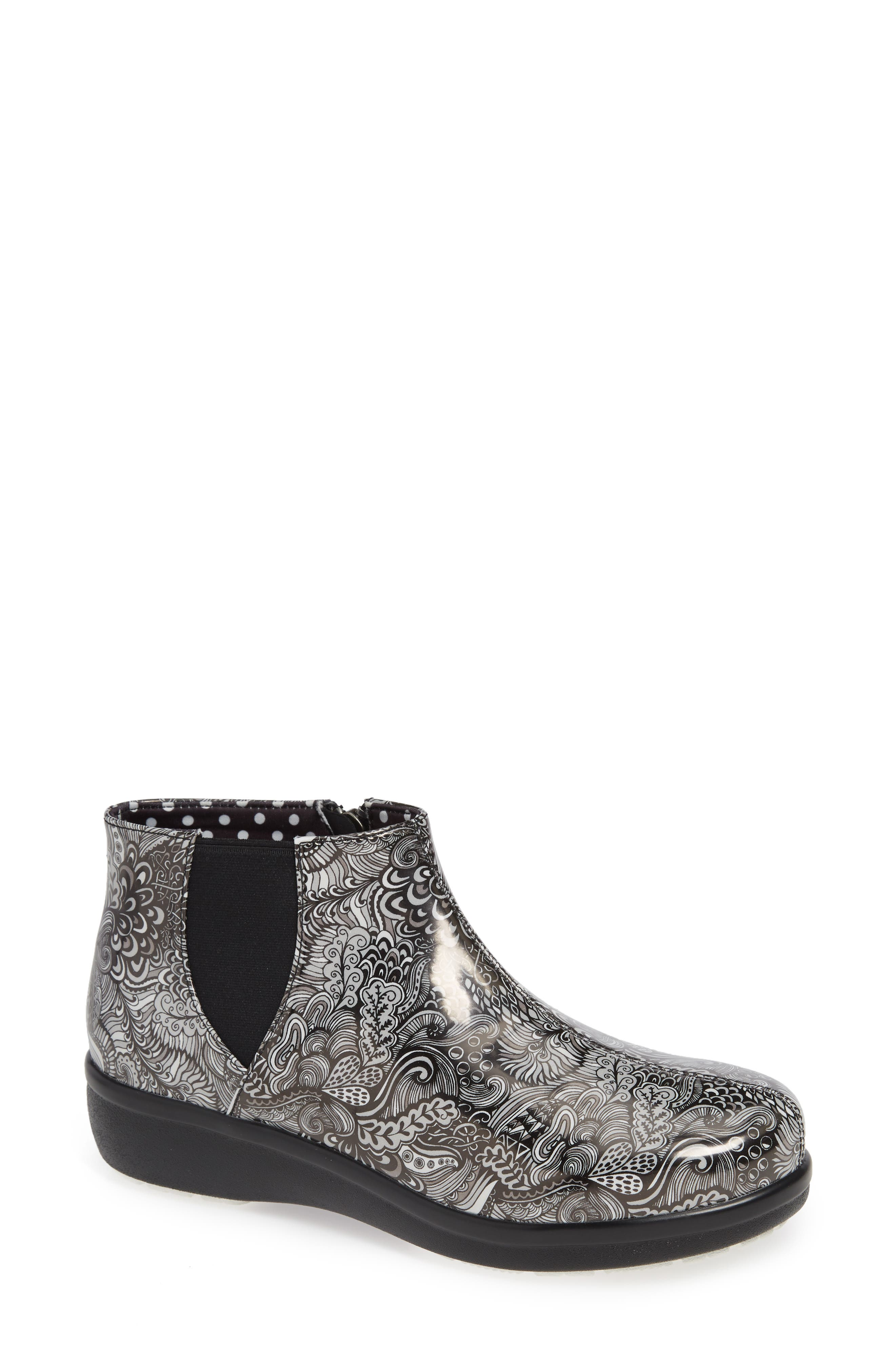 Climatease Chelsea Bootie, Main, color, WHACK A DOODLE GREY LEATHER