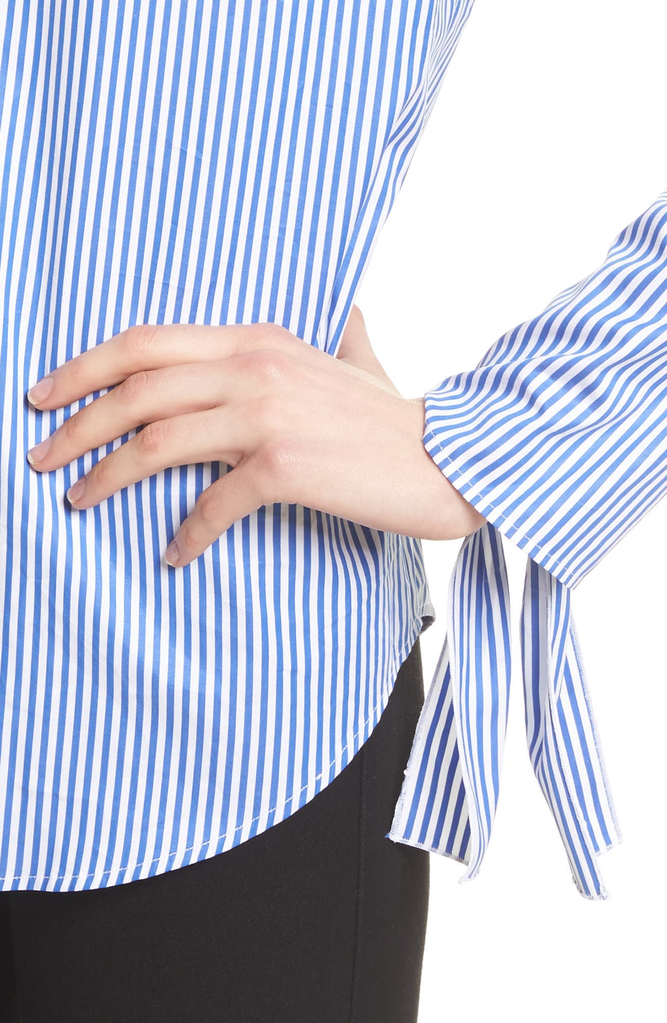 Thomas Stripe Forever Tie Cuff Shirt,                             Alternate thumbnail 4, color,                             473