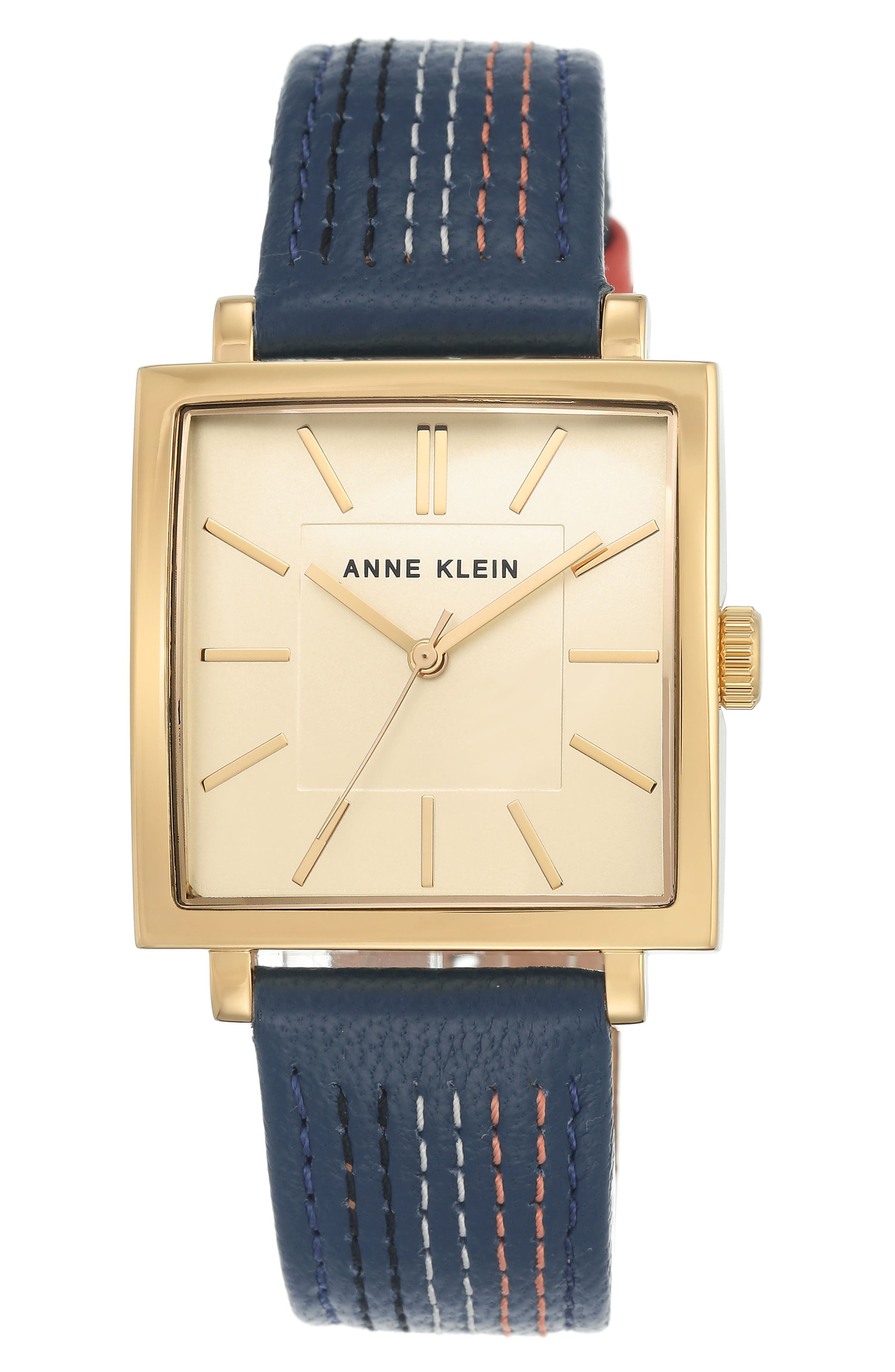 Square Leather Strap Watch, 42mm x 34mm,                             Main thumbnail 2, color,
