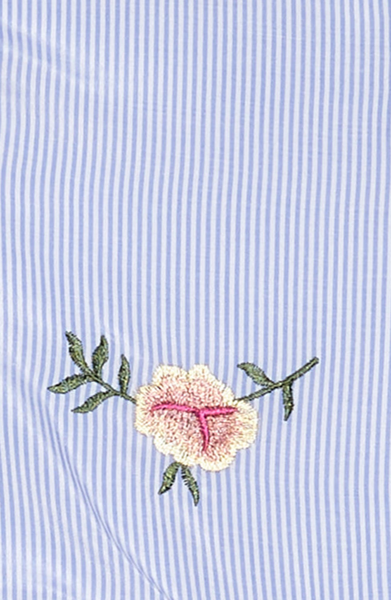 ZUNIE,                             Stripe Embroidered Flower Sleeveless Dress,                             Alternate thumbnail 3, color,                             424