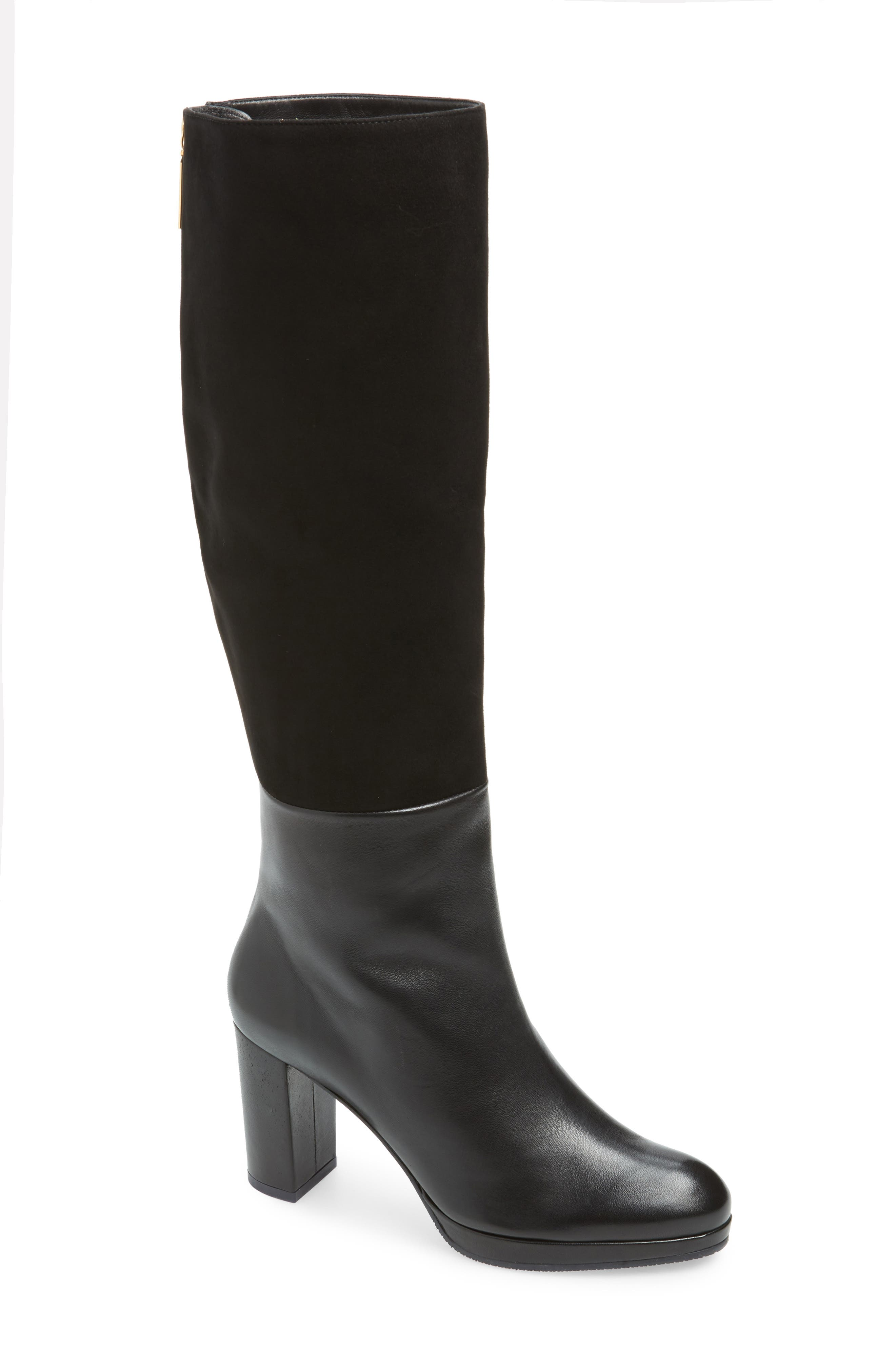 Marcella Knee High Boot,                         Main,                         color, BLACK DOVER