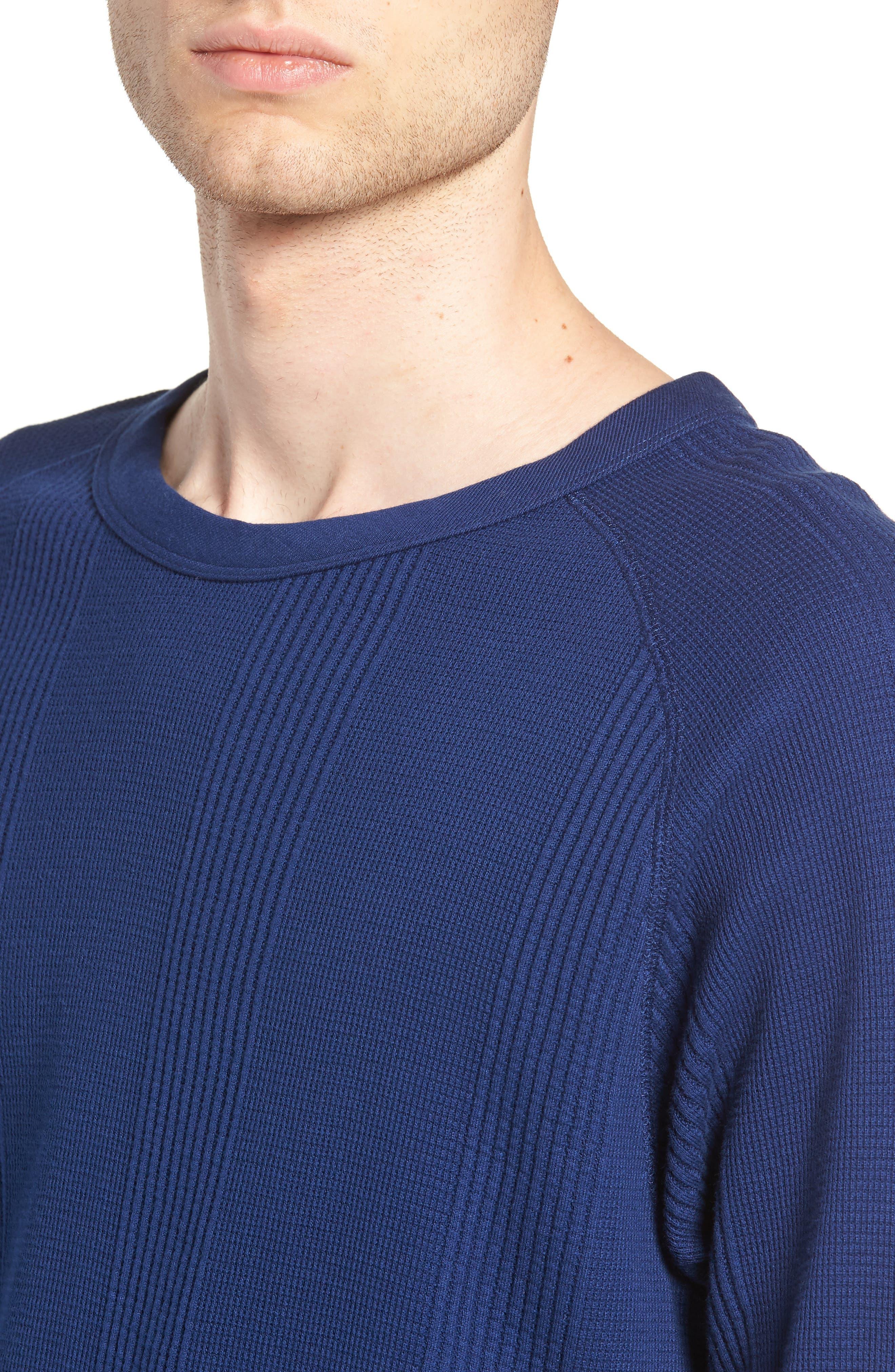 Kasu Waffle Stripe Sweater,                             Alternate thumbnail 4, color,                             COBALT