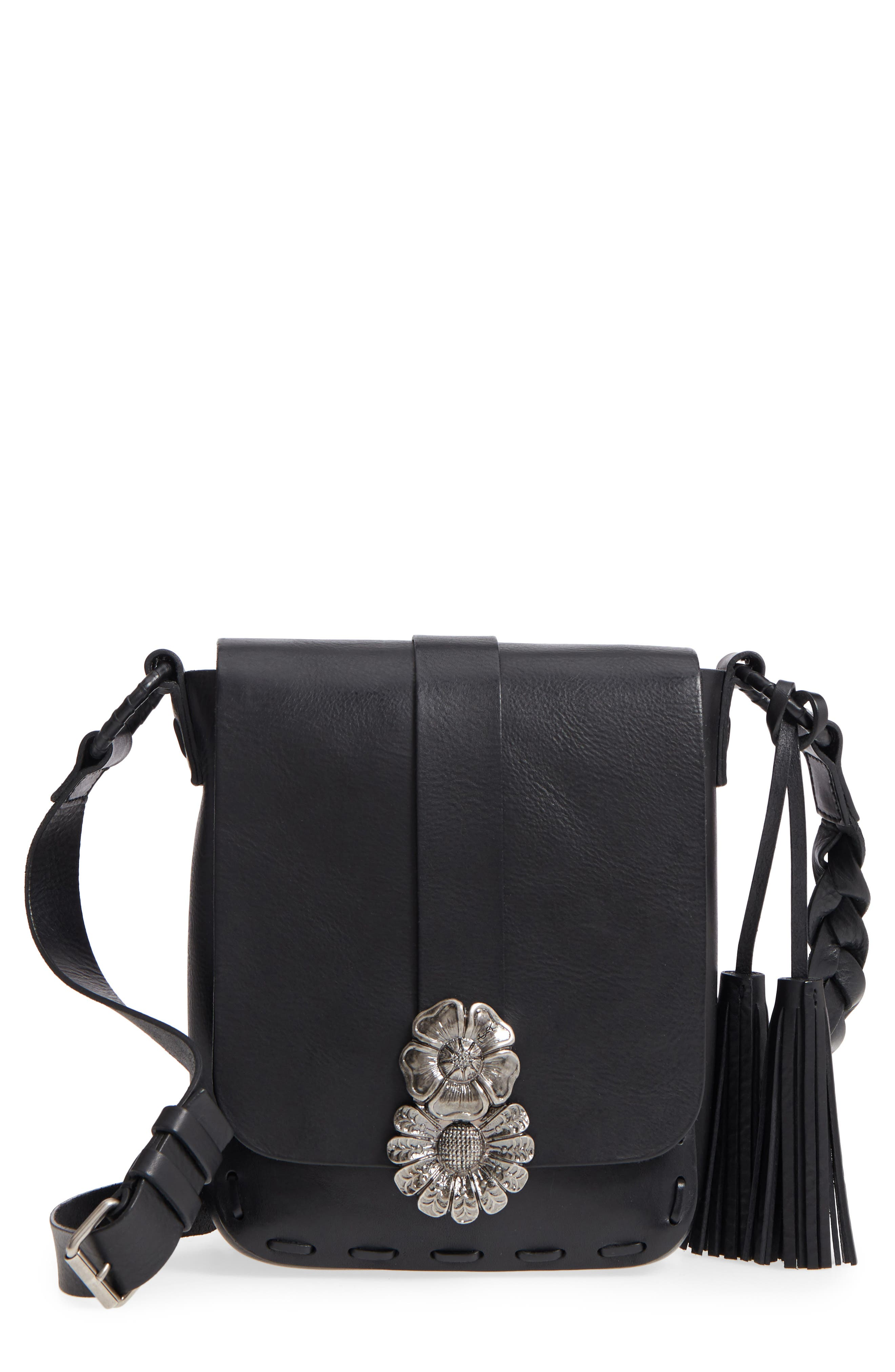 Floral Clasp Leather Crossbody Bag,                         Main,                         color, 001