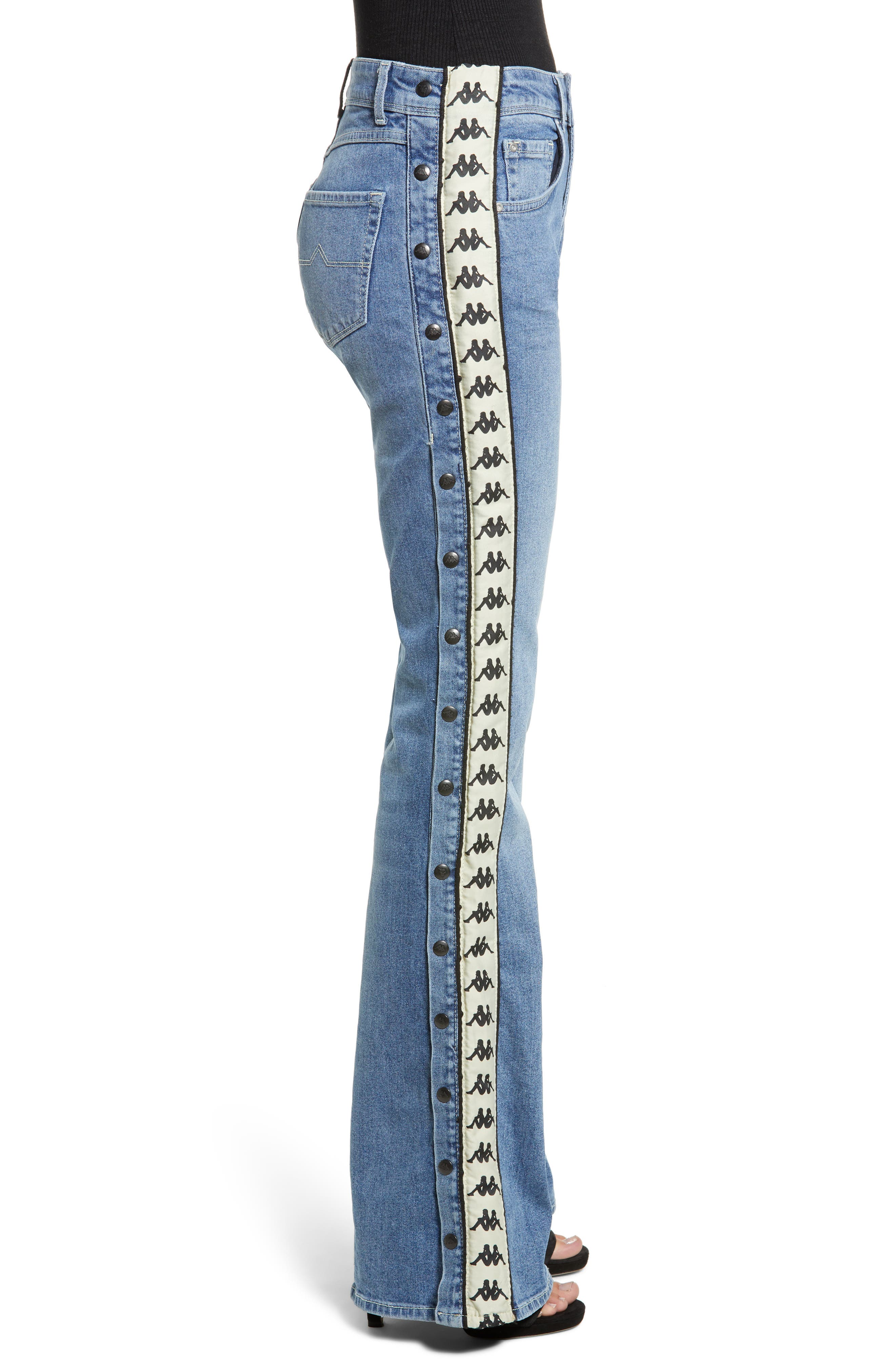 Authentic Brigit Flare Leg Jeans,                             Alternate thumbnail 3, color,                             LIGHT COBALT/ BEIGE