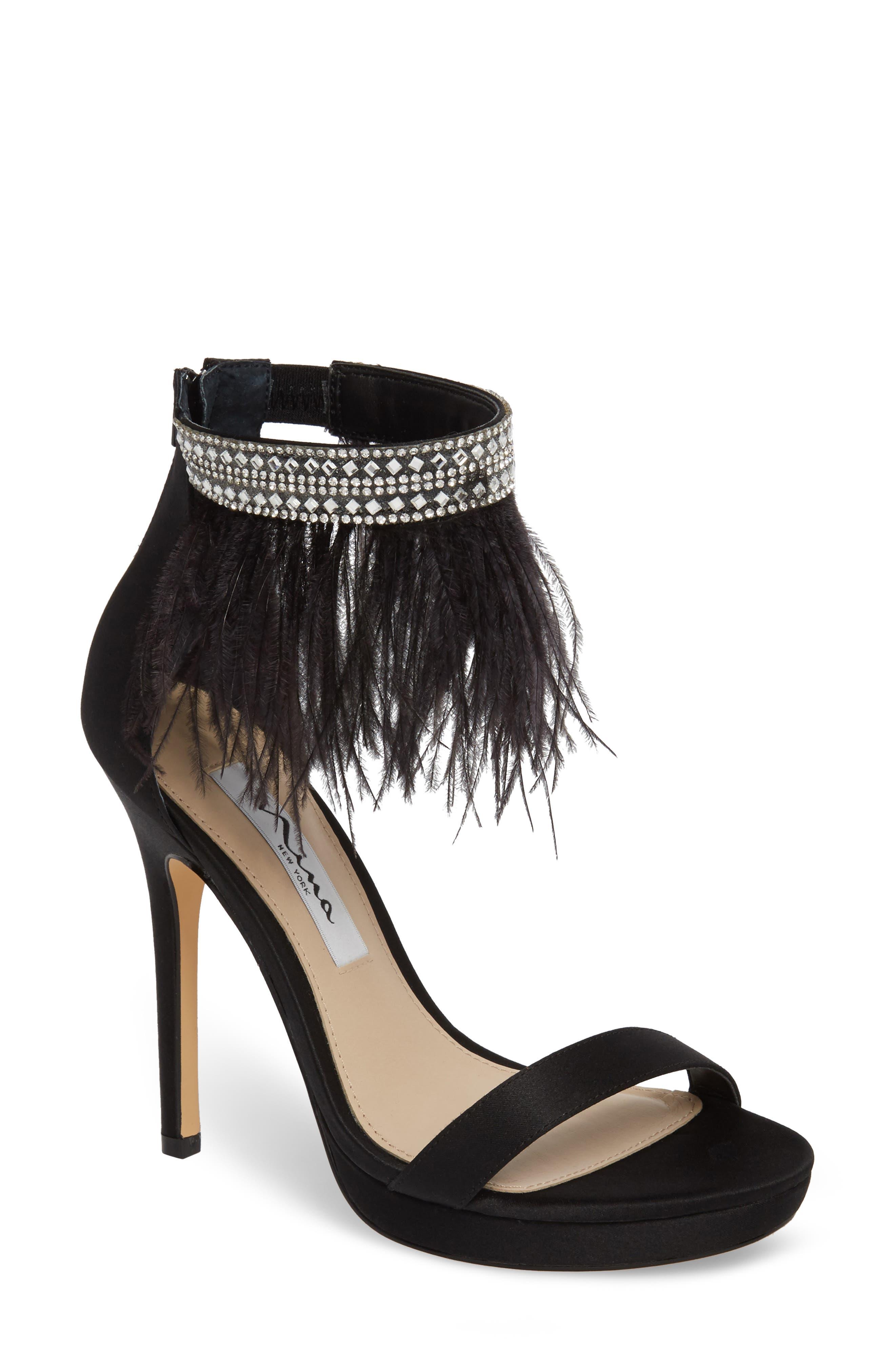 Fran Embellished Feather Sandal,                             Main thumbnail 1, color,                             BLACK SATIN