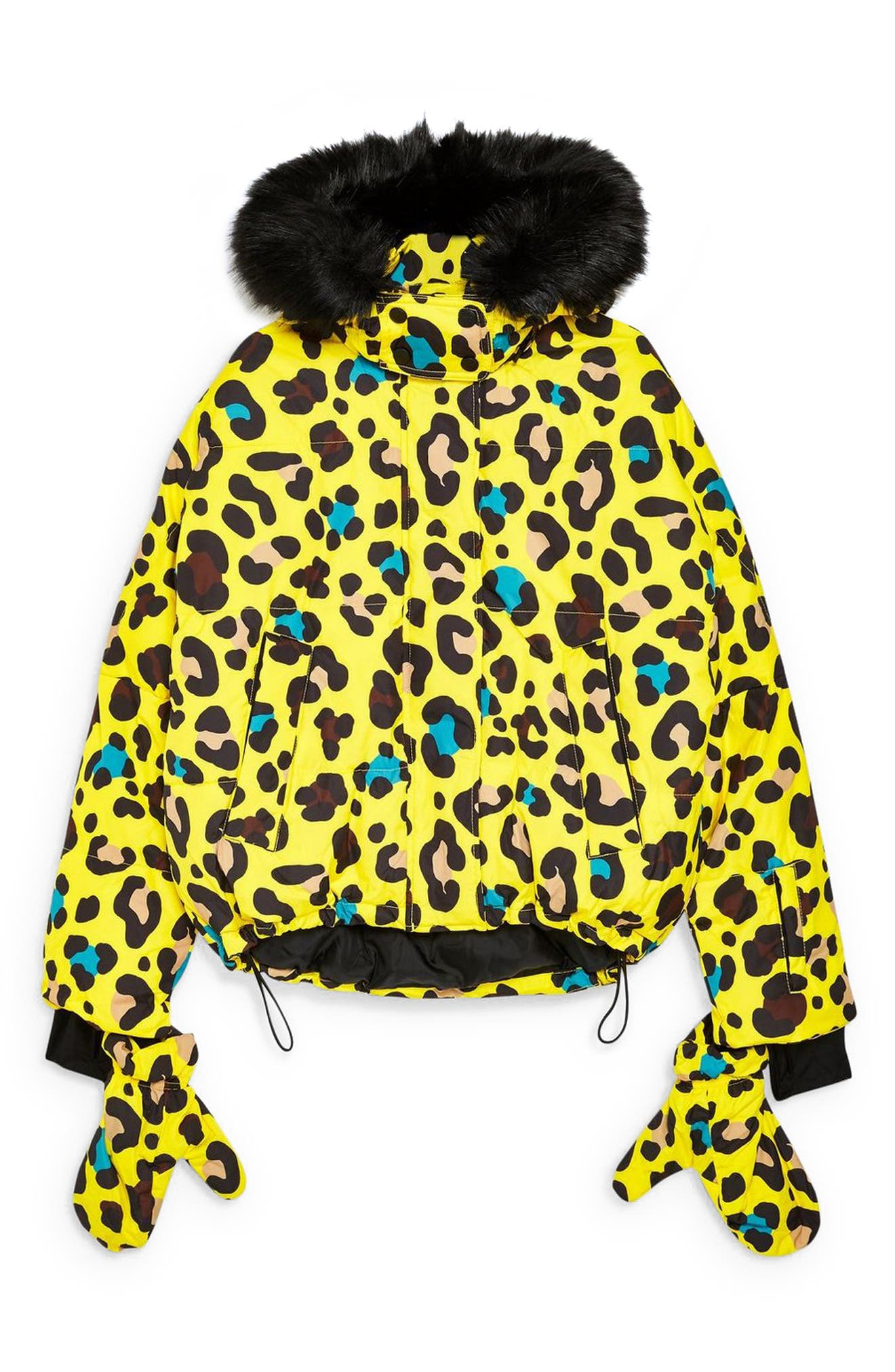 Piper Water Repellent Leopard Print Jacket & Mittens Set,                             Alternate thumbnail 4, color,                             YELLOW