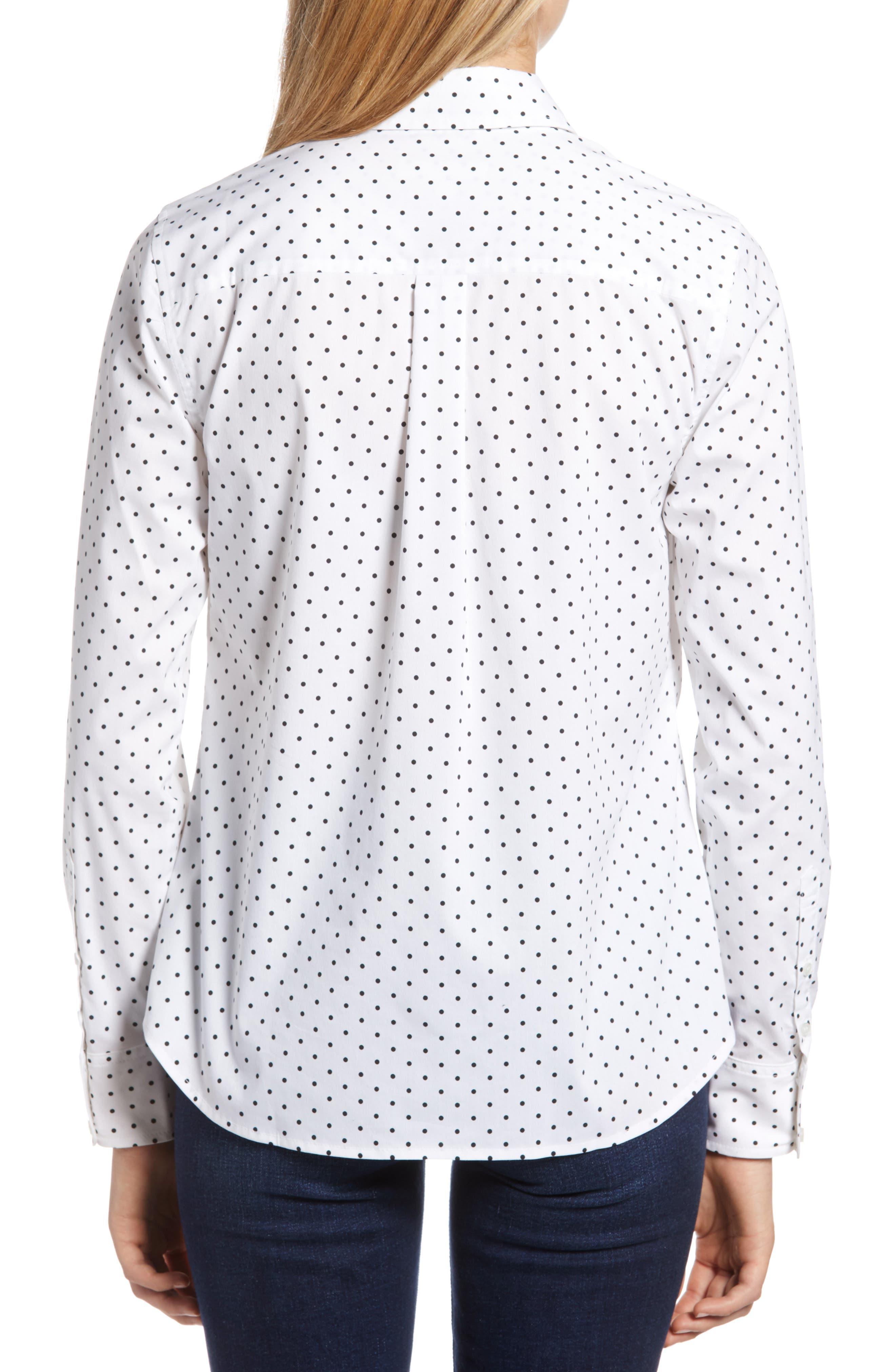 Polka Dot Stretch Cotton Blend Shirt,                             Alternate thumbnail 2, color,                             WHITE BISOU DOT