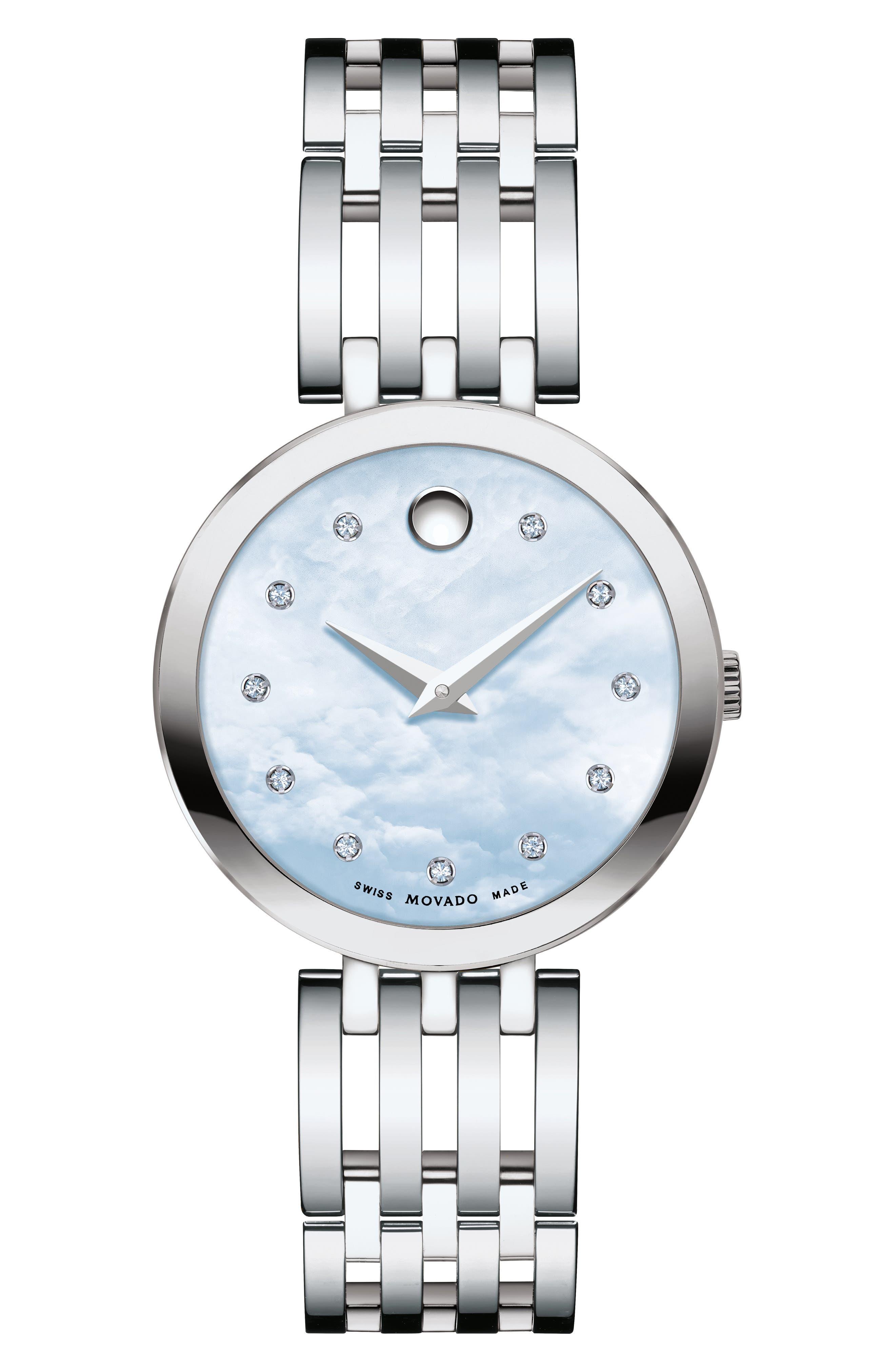 Esperanza Diamond Bracelet Watch, 28mm, Main, color, SILVER/ BLUE MOP/ SILVER