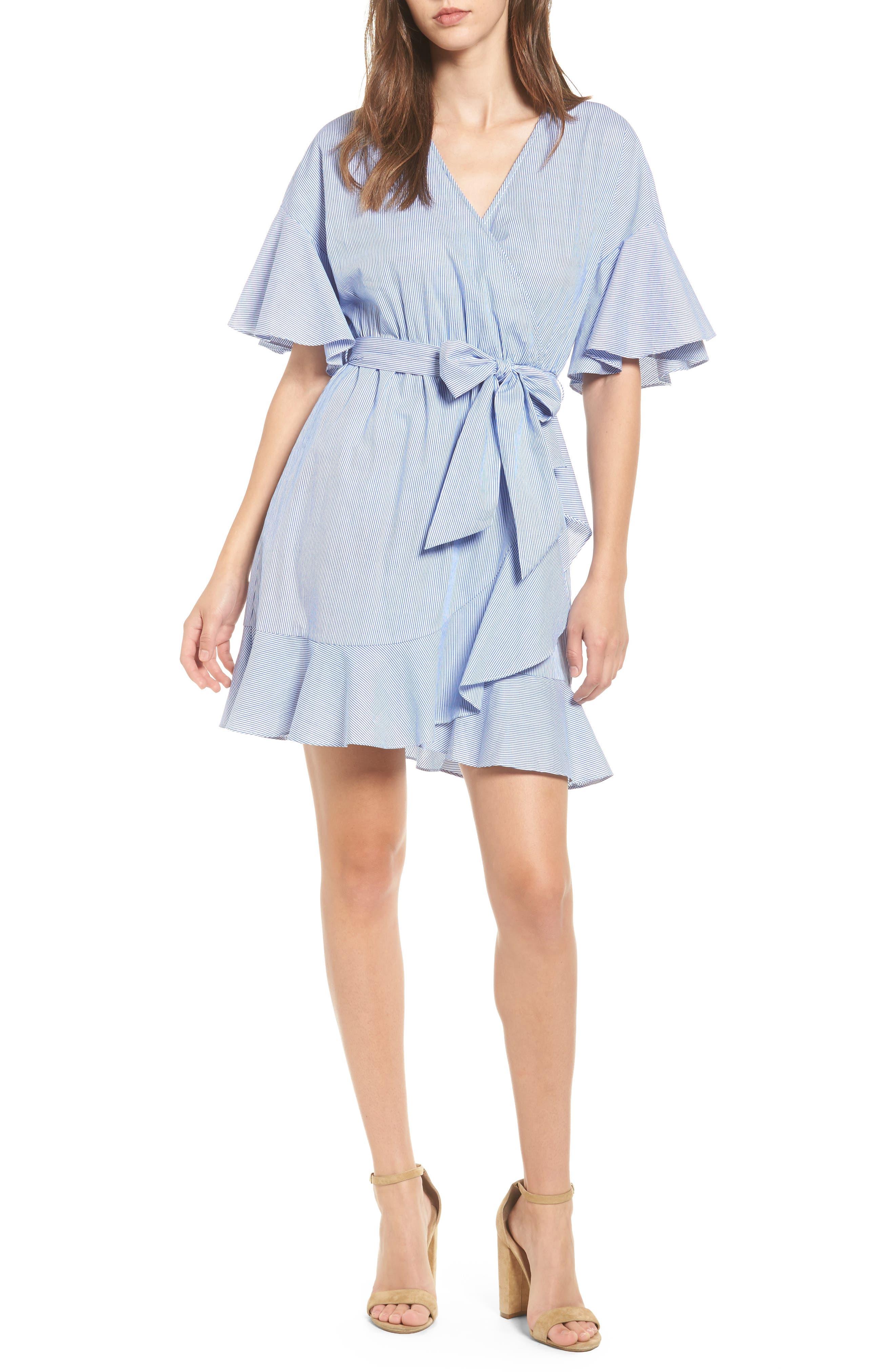 Stripe Wrap Dress,                         Main,                         color, 400