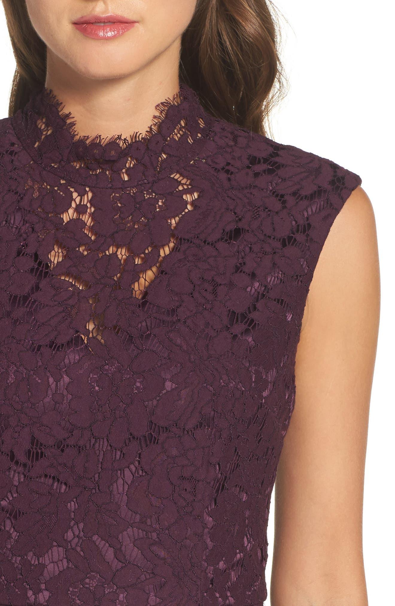 Open Back Lace Sheath Dress,                             Alternate thumbnail 4, color,                             506