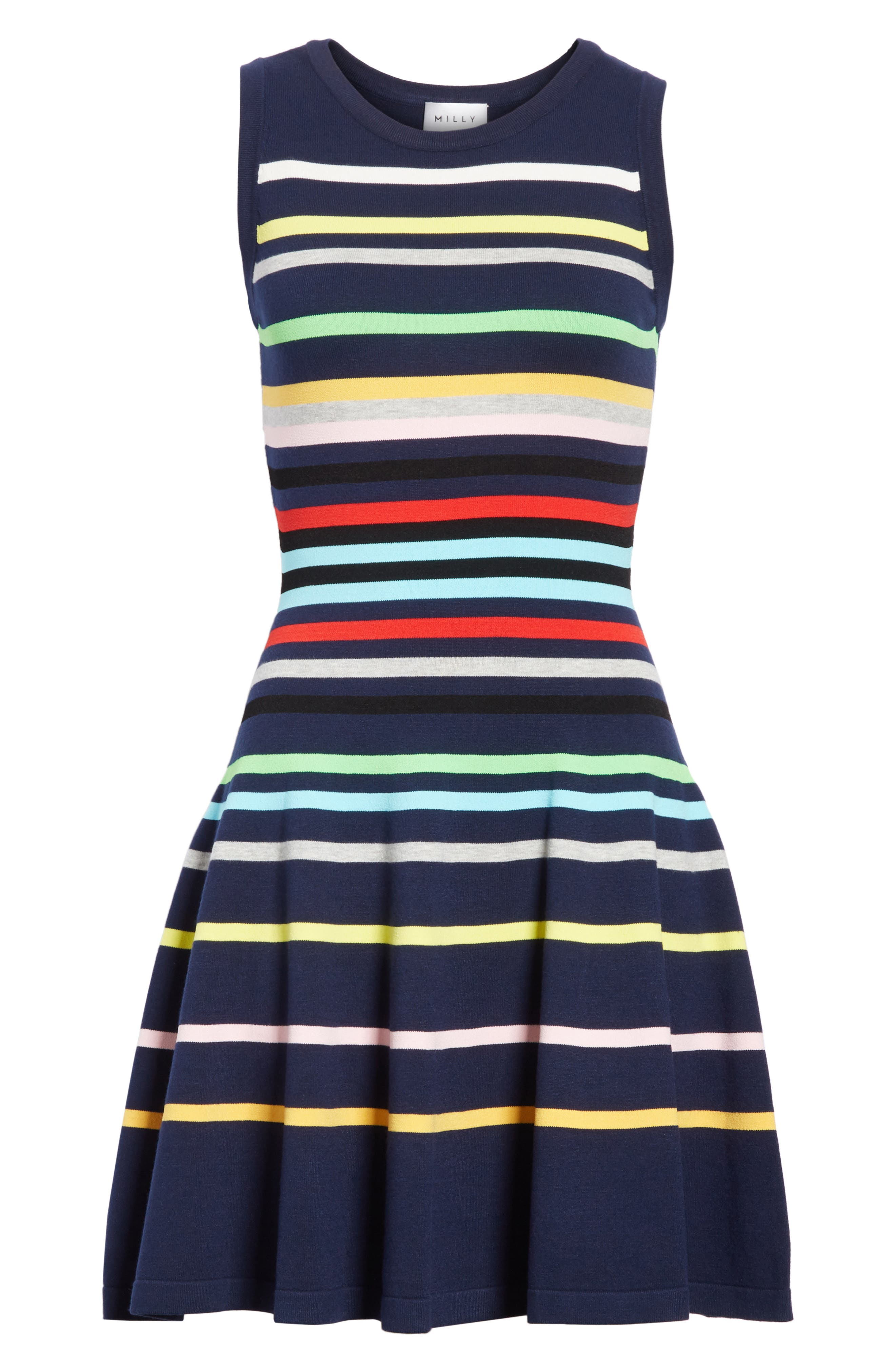 Rainbow Stripe Fit & Flare Dress,                             Alternate thumbnail 6, color,                             405