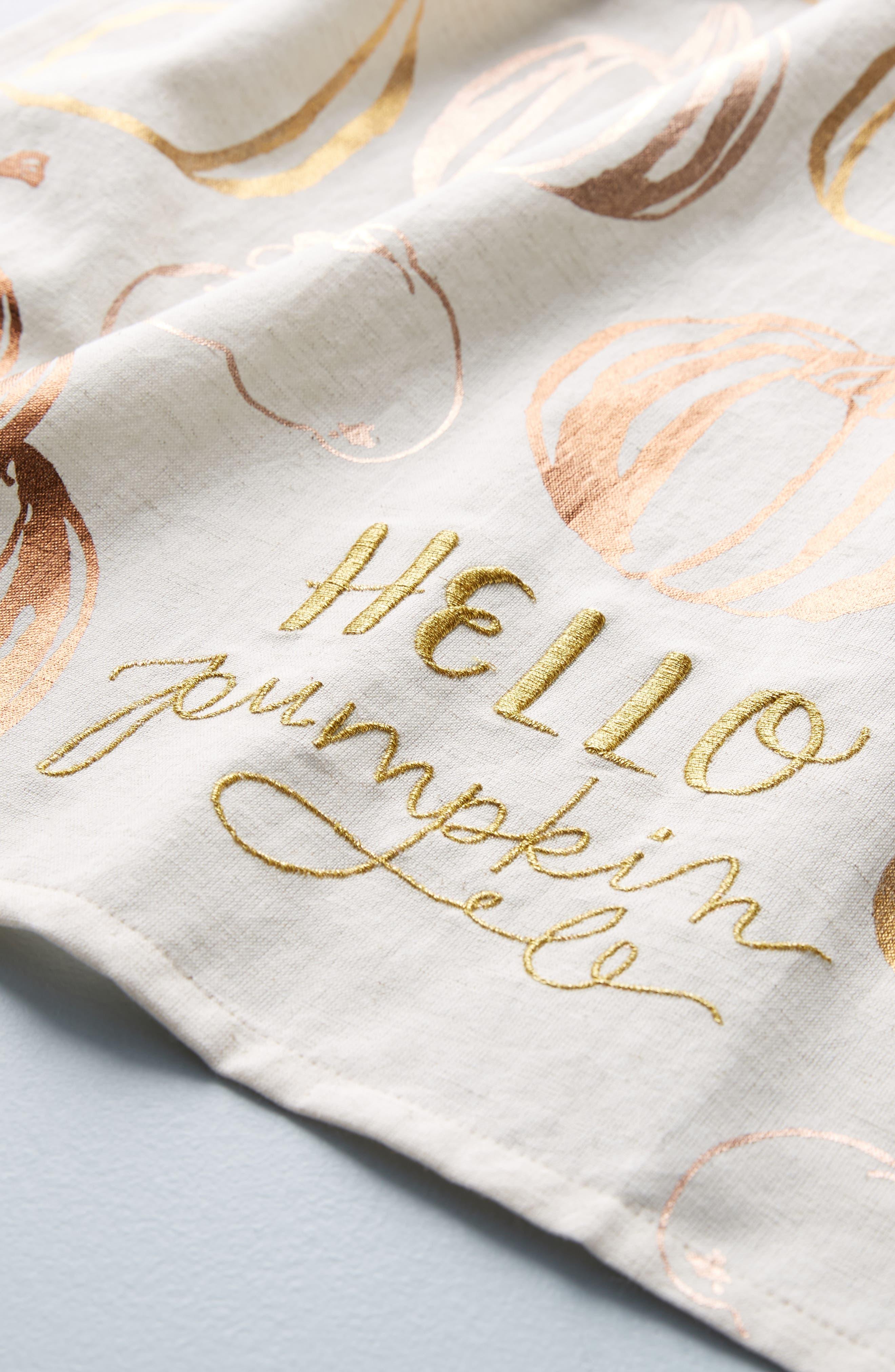 ANTHROPOLOGIE,                             Jasmine Jones Pumpkin Dishtowel,                             Alternate thumbnail 2, color,                             250