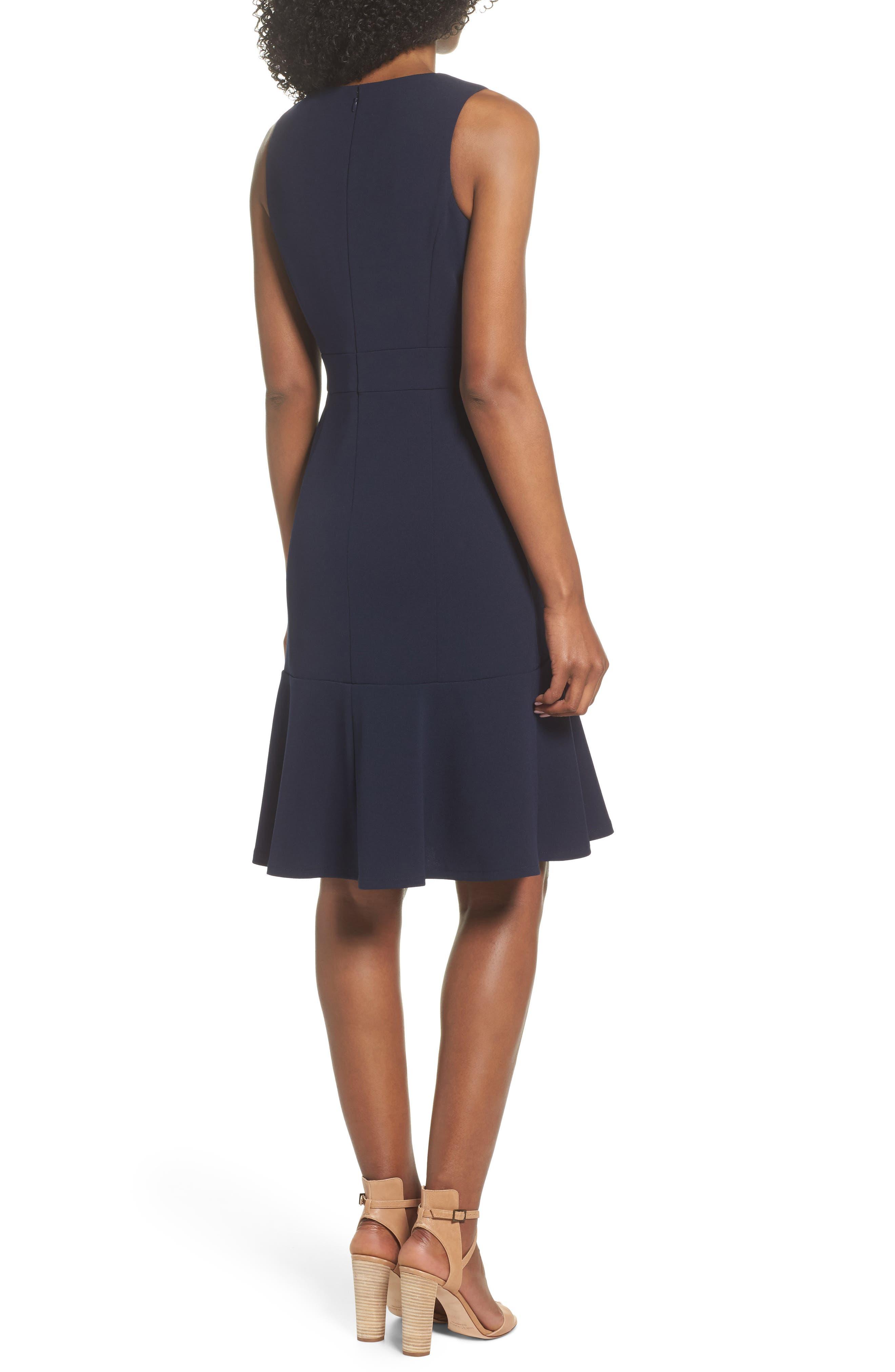 Ruffle Hem Body-Con Dress,                             Alternate thumbnail 2, color,                             NAVY