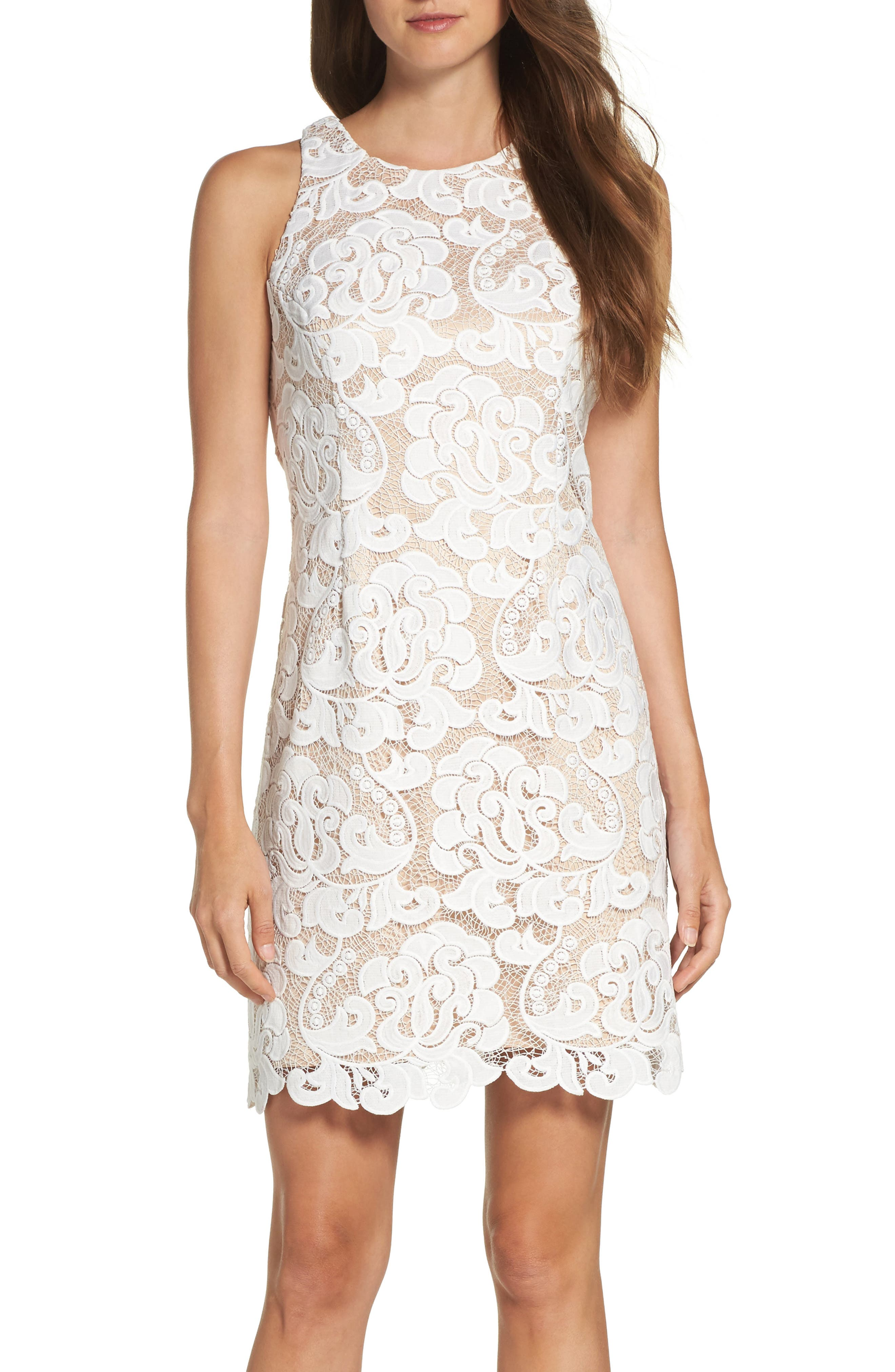 Lace Sheath Dress,                             Alternate thumbnail 6, color,                             IVORY