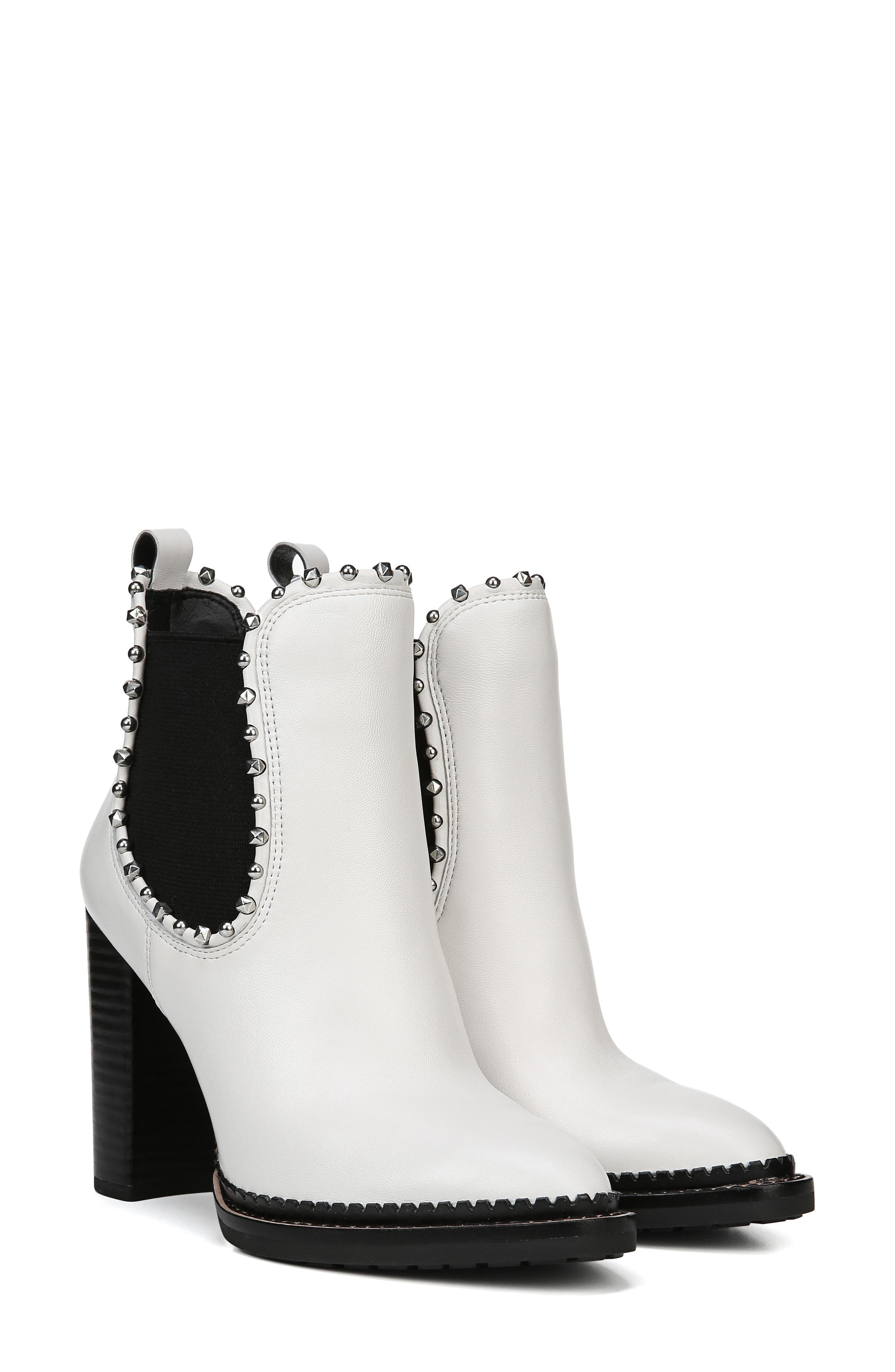 Salma Studded Chelsea Boot,                             Alternate thumbnail 9, color,                             BRIGHT WHITE LEATHER
