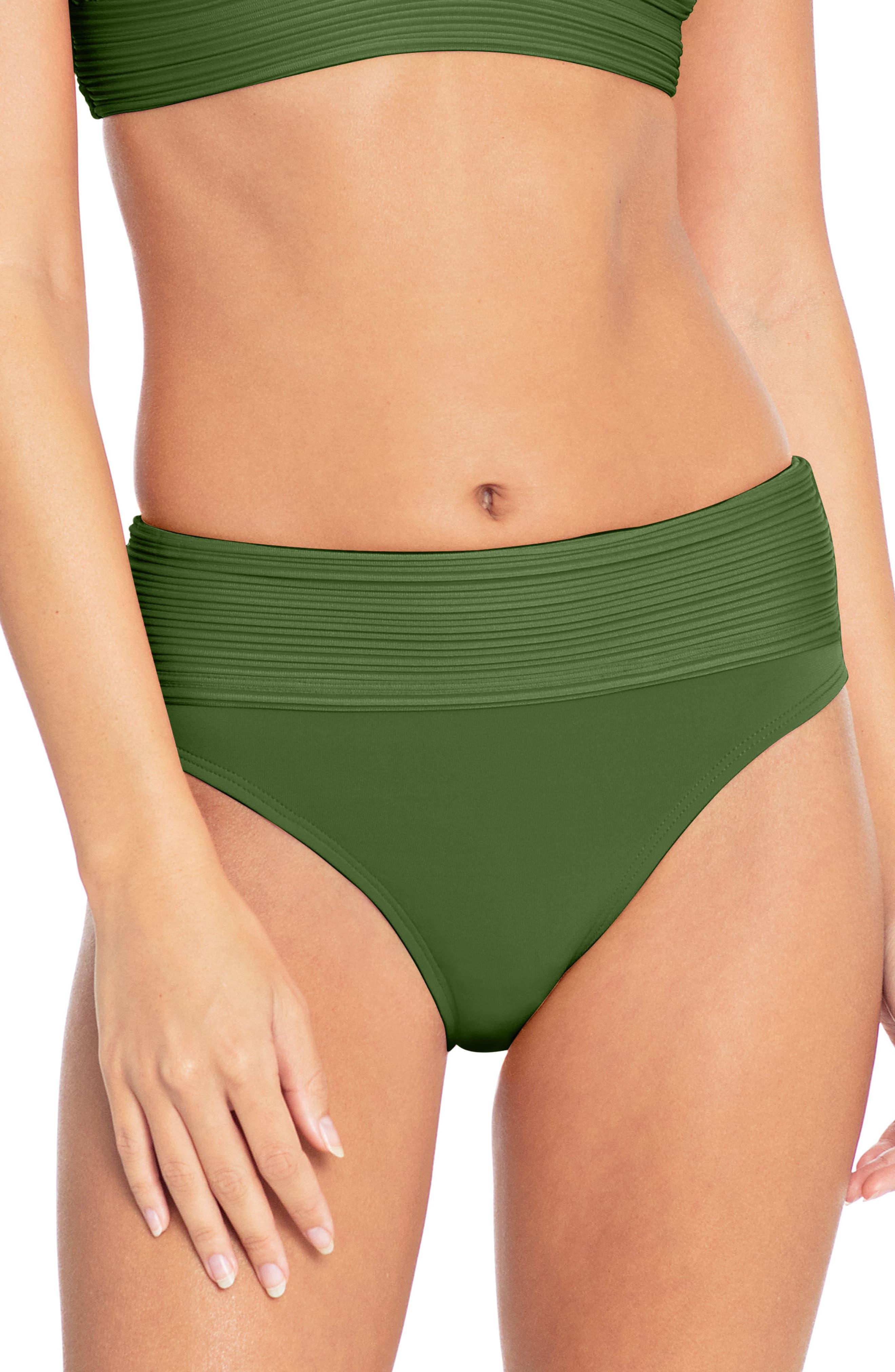 Lily Banded Bikini Bottoms,                         Main,                         color, BASIL