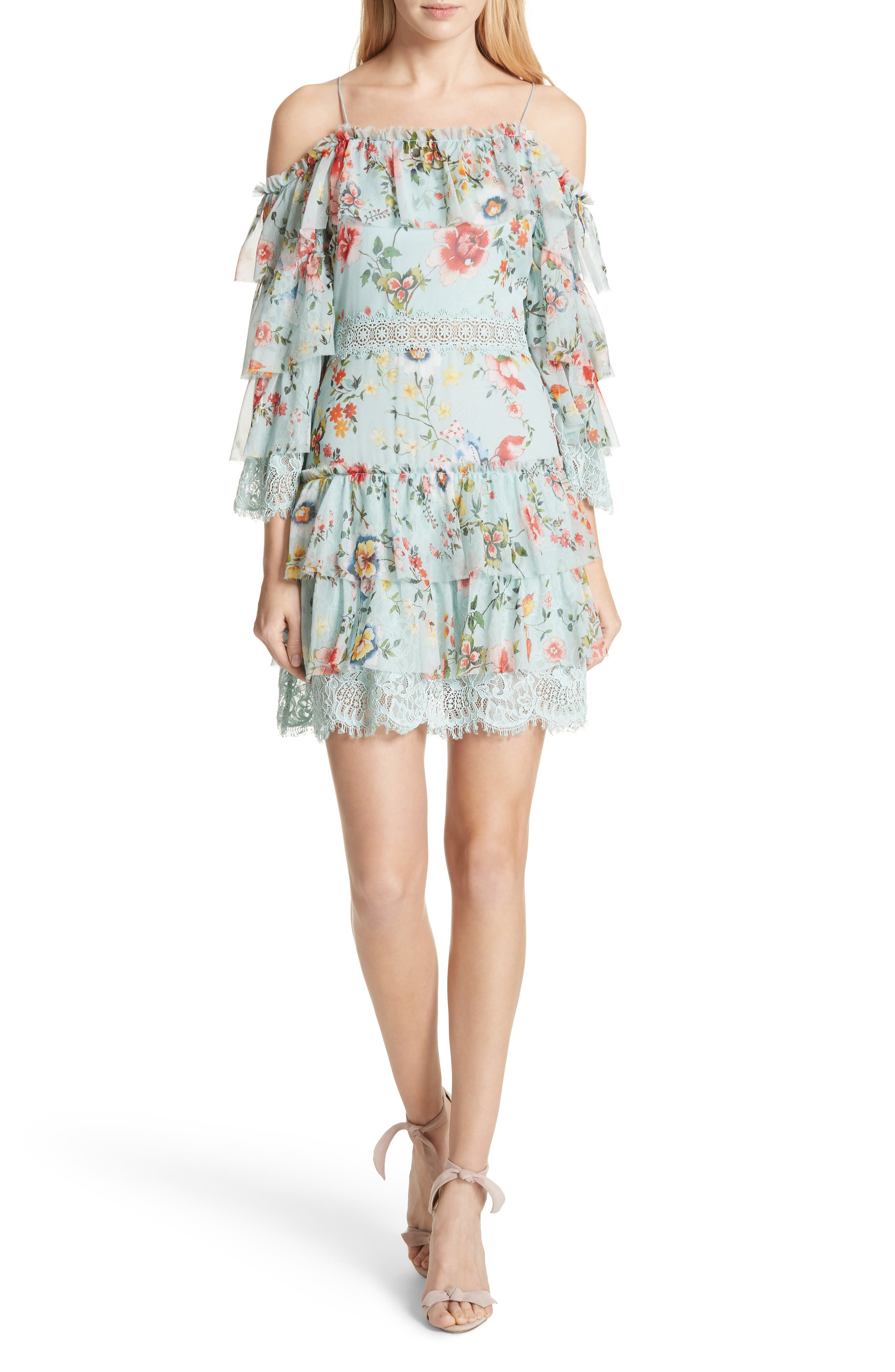Santos Cold Shoulder Tiered Silk Dress,                             Main thumbnail 1, color,                             474