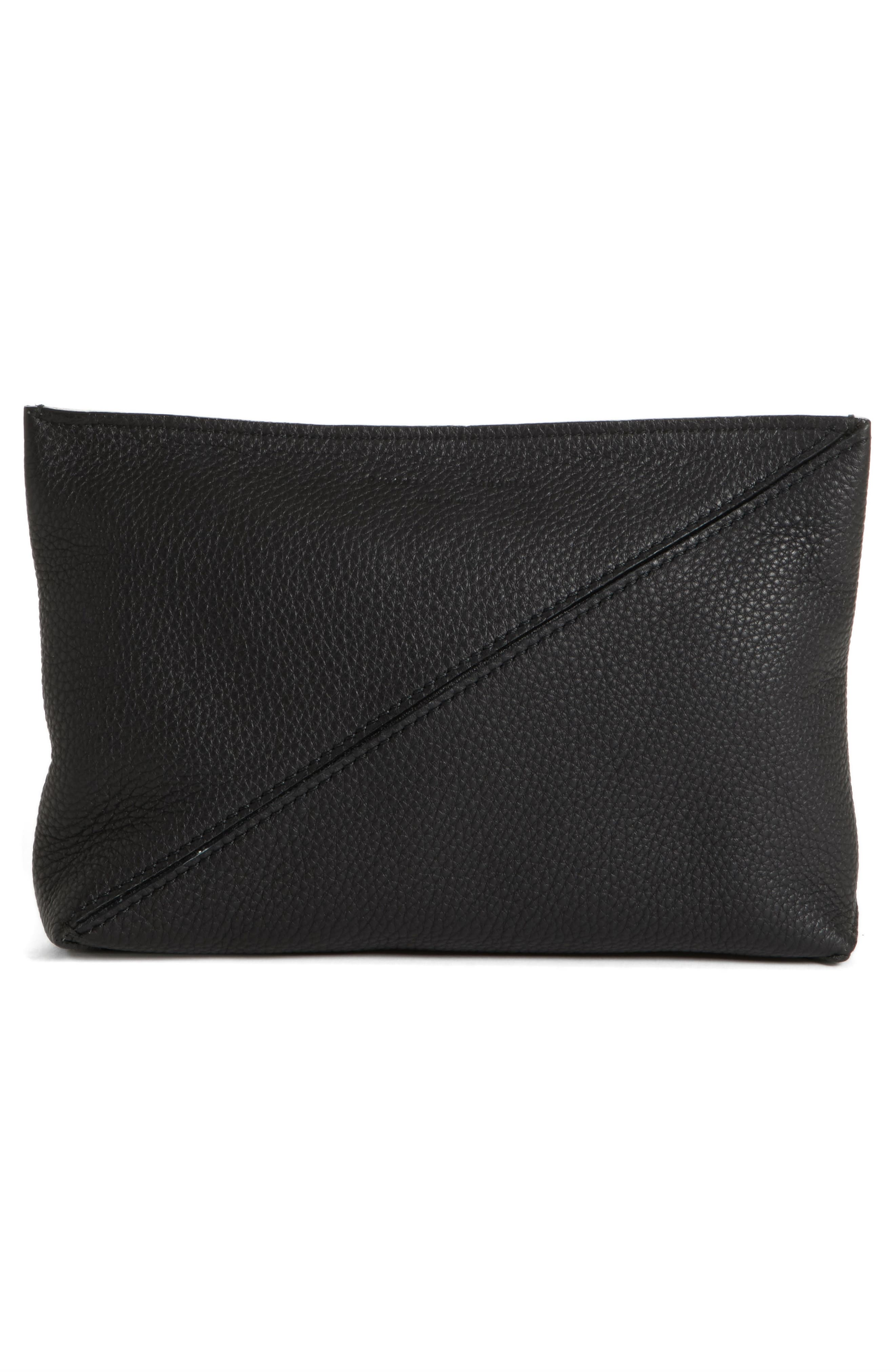 Diagonal Zip Leather Pouch,                             Alternate thumbnail 3, color,                             001
