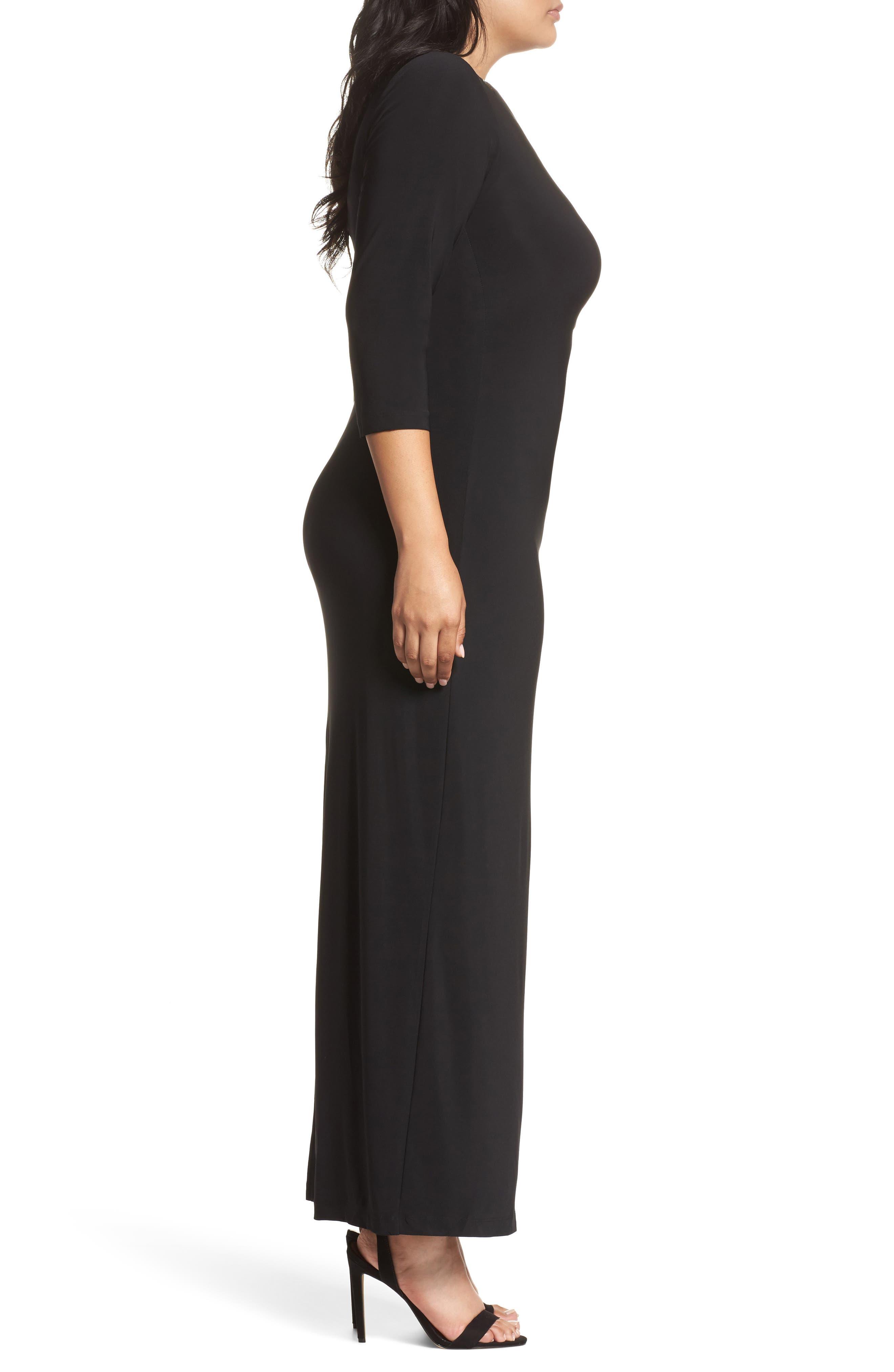 Embellished Neck Matte Jersey Gown,                             Alternate thumbnail 3, color,                             001