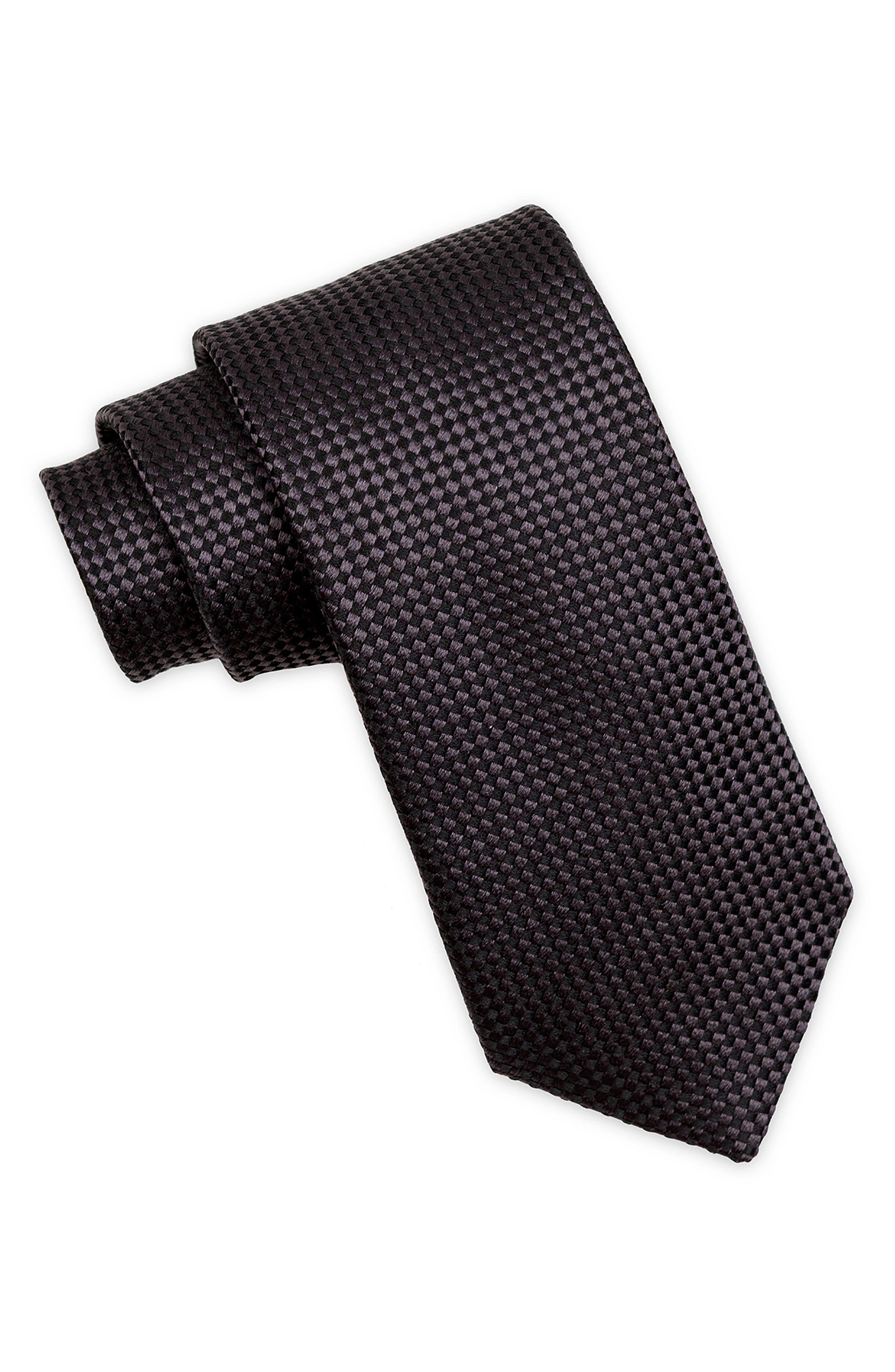 Nate Textured Silk Tie,                         Main,                         color, BLACK