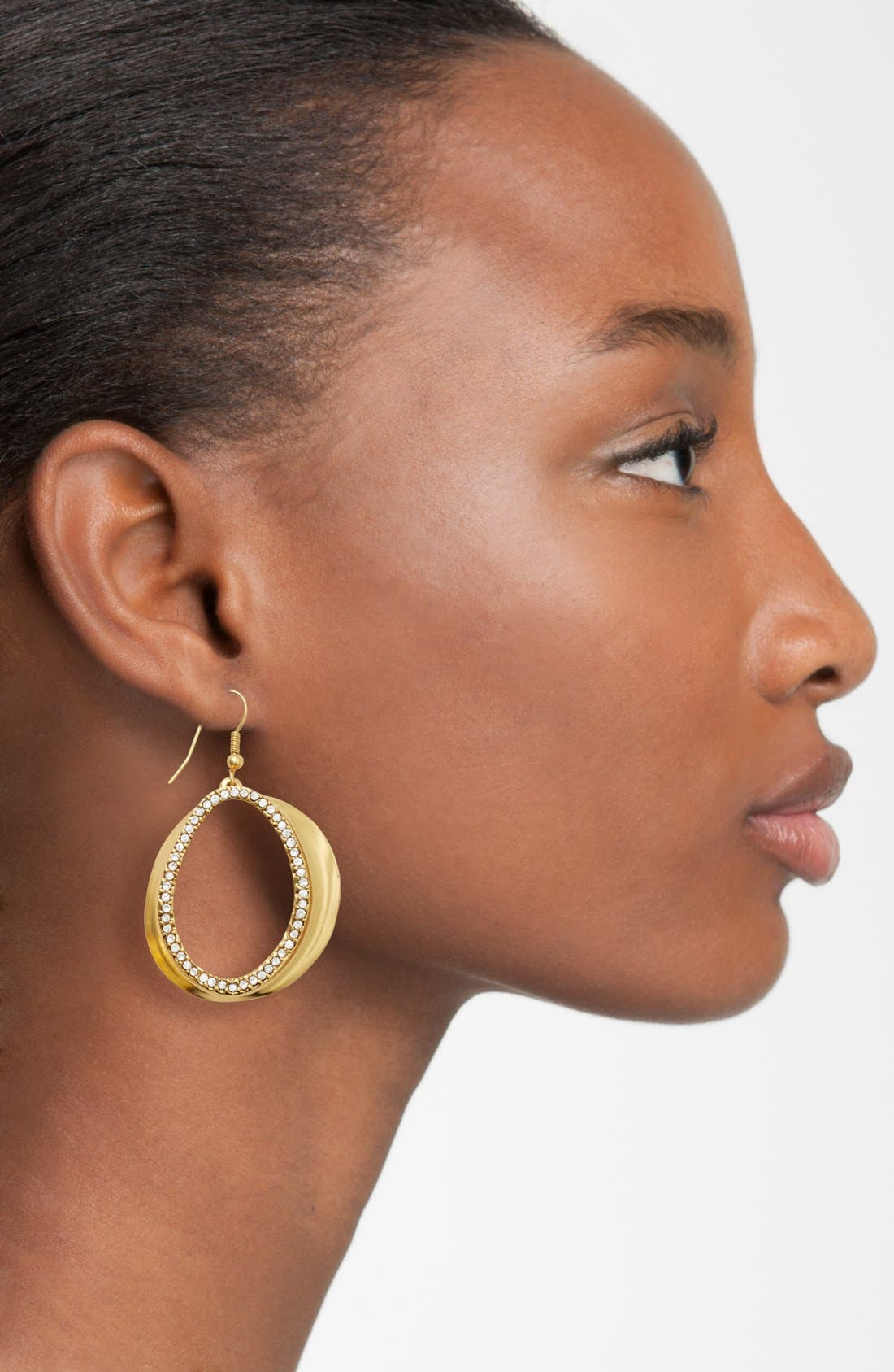 Crystal Front Hoop Earrings,                             Alternate thumbnail 2, color,                             GOLD