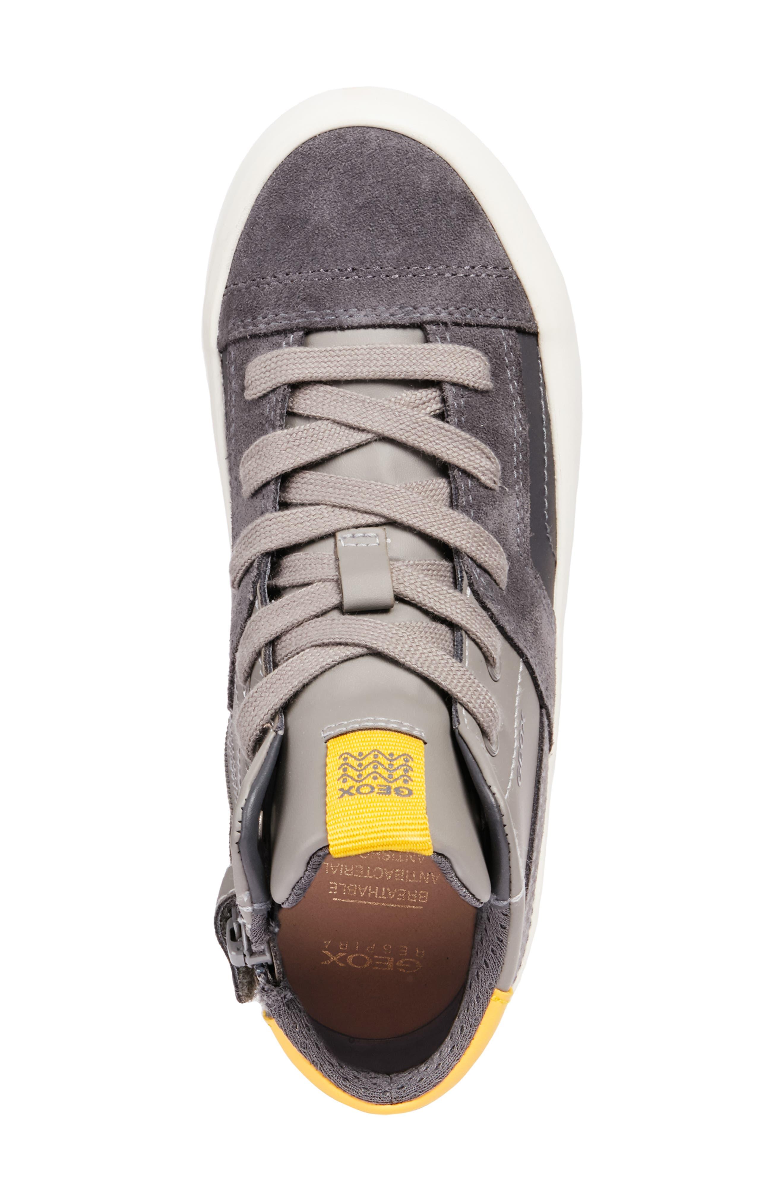 Alonisso 24 High Top Sneaker,                             Alternate thumbnail 4, color,                             DARK GREY/YELLOW