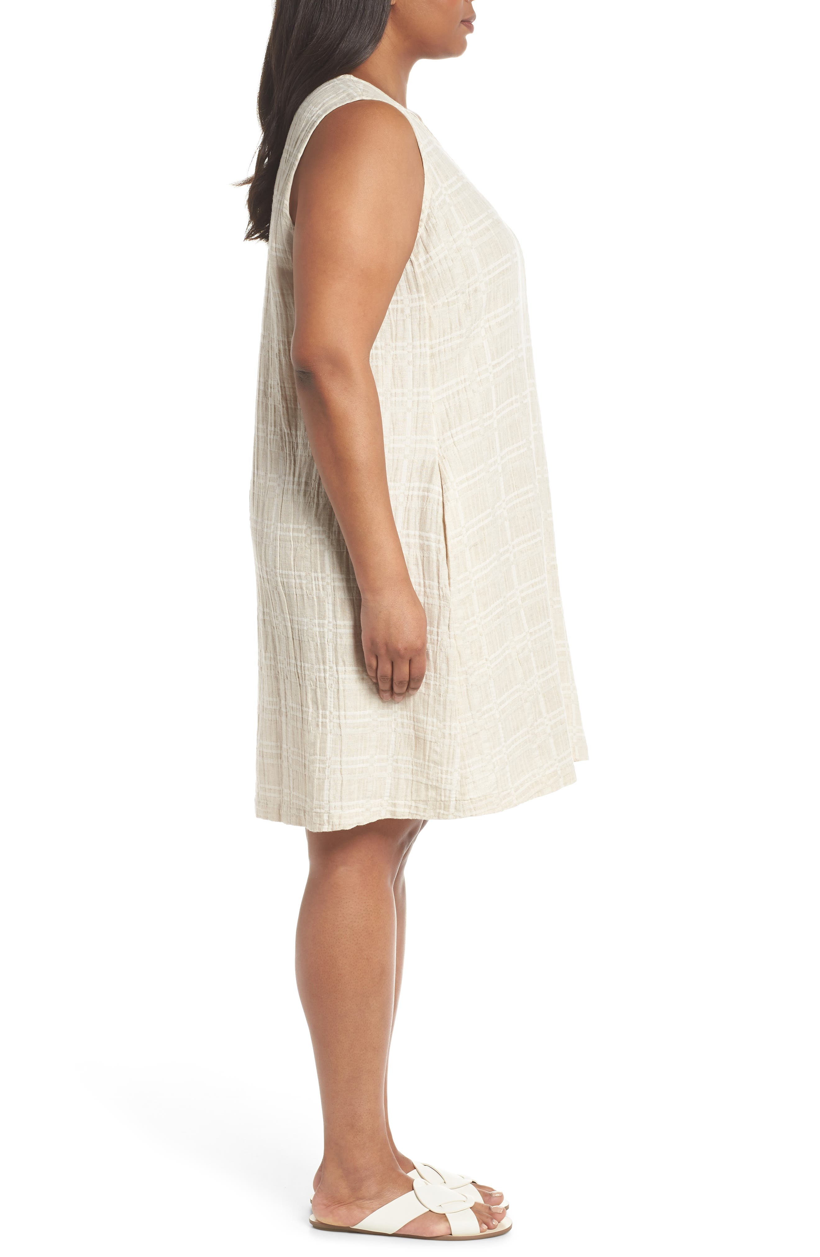 Organic Cotton & Linen Shift Dress,                             Alternate thumbnail 3, color,                             NATURAL