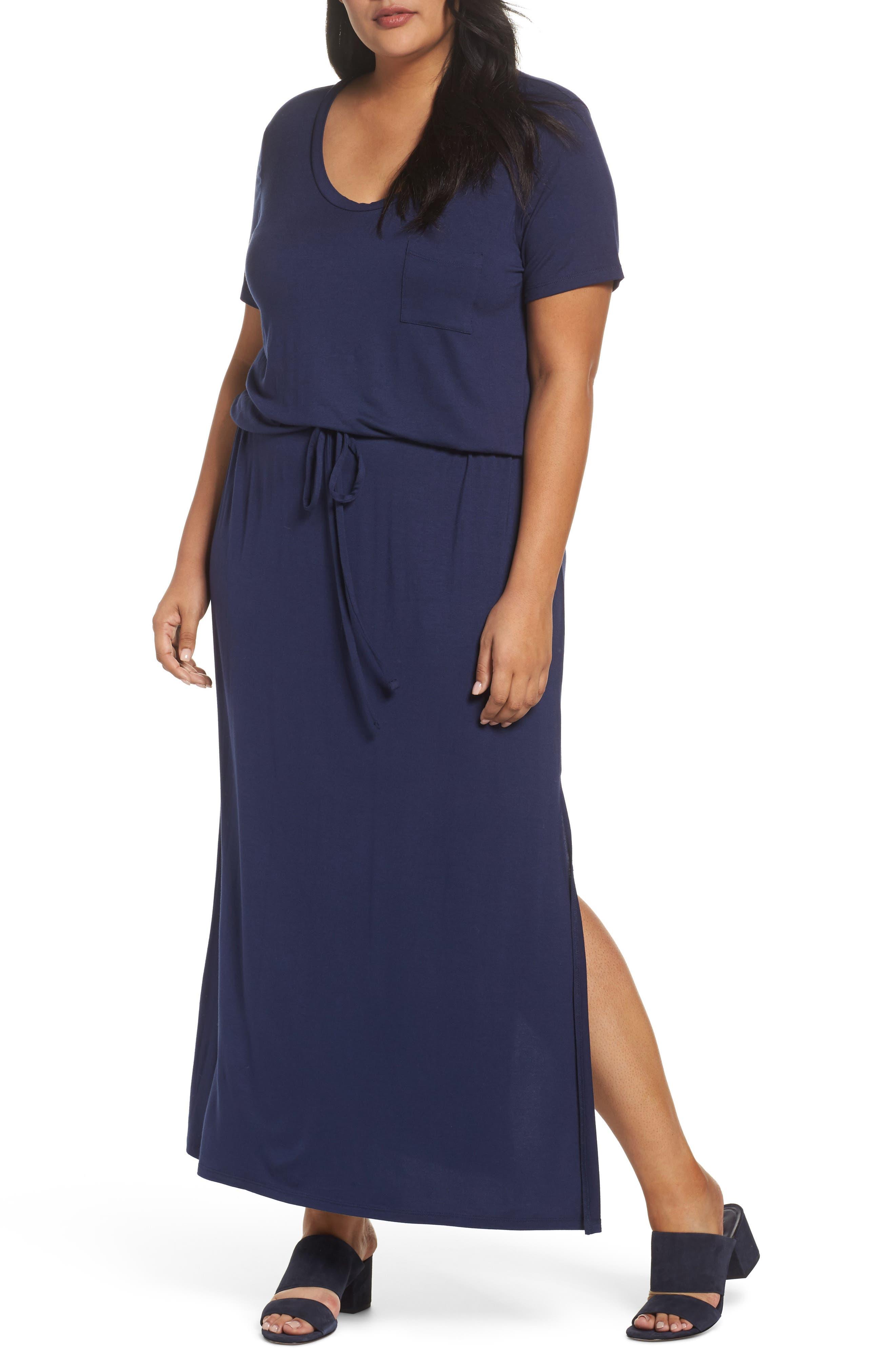 Knit Drawstring Waist Maxi Dress,                             Main thumbnail 1, color,                             NAVY PEACOAT