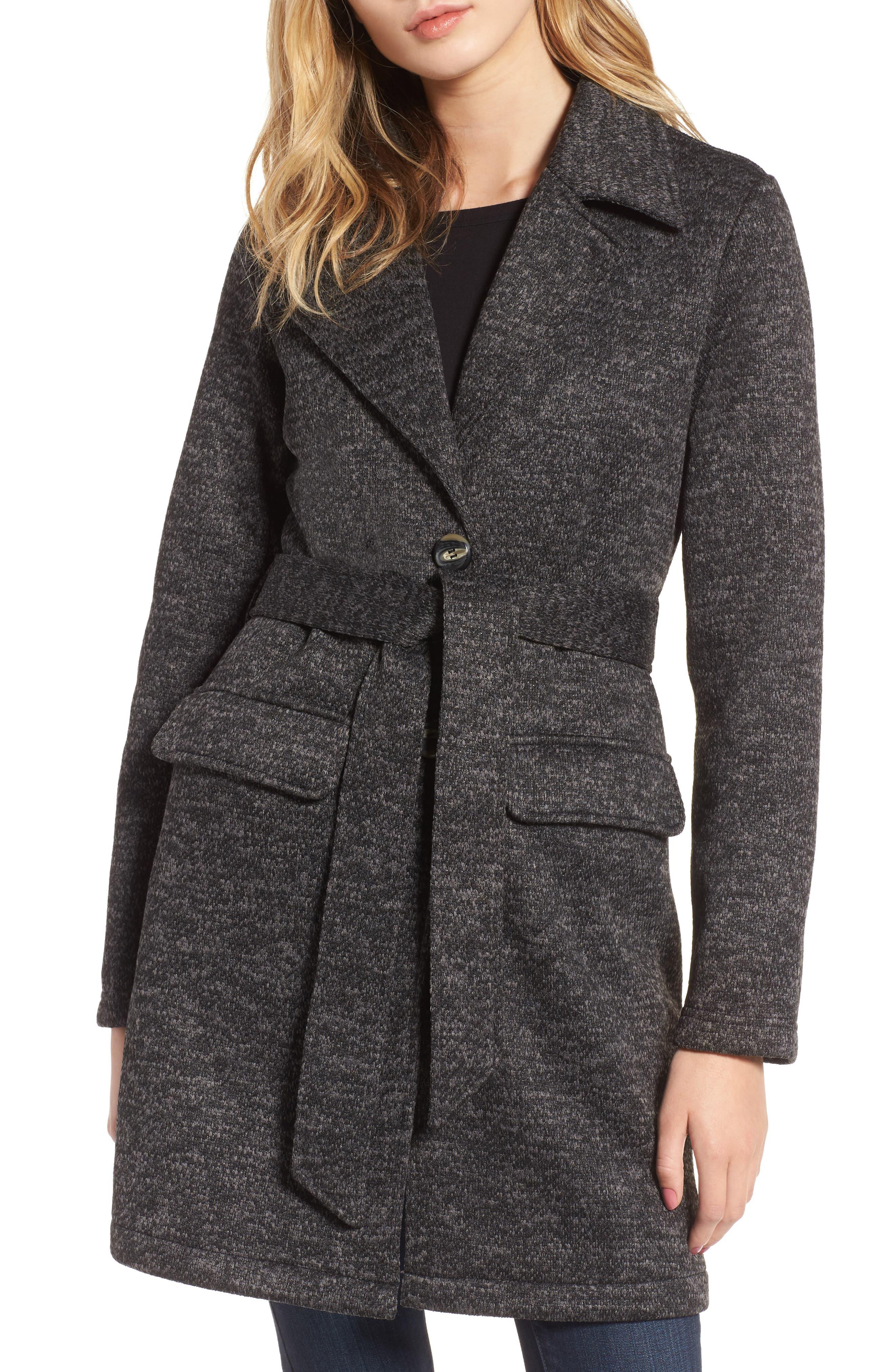Belted Fleece Jacket,                             Alternate thumbnail 4, color,                             021