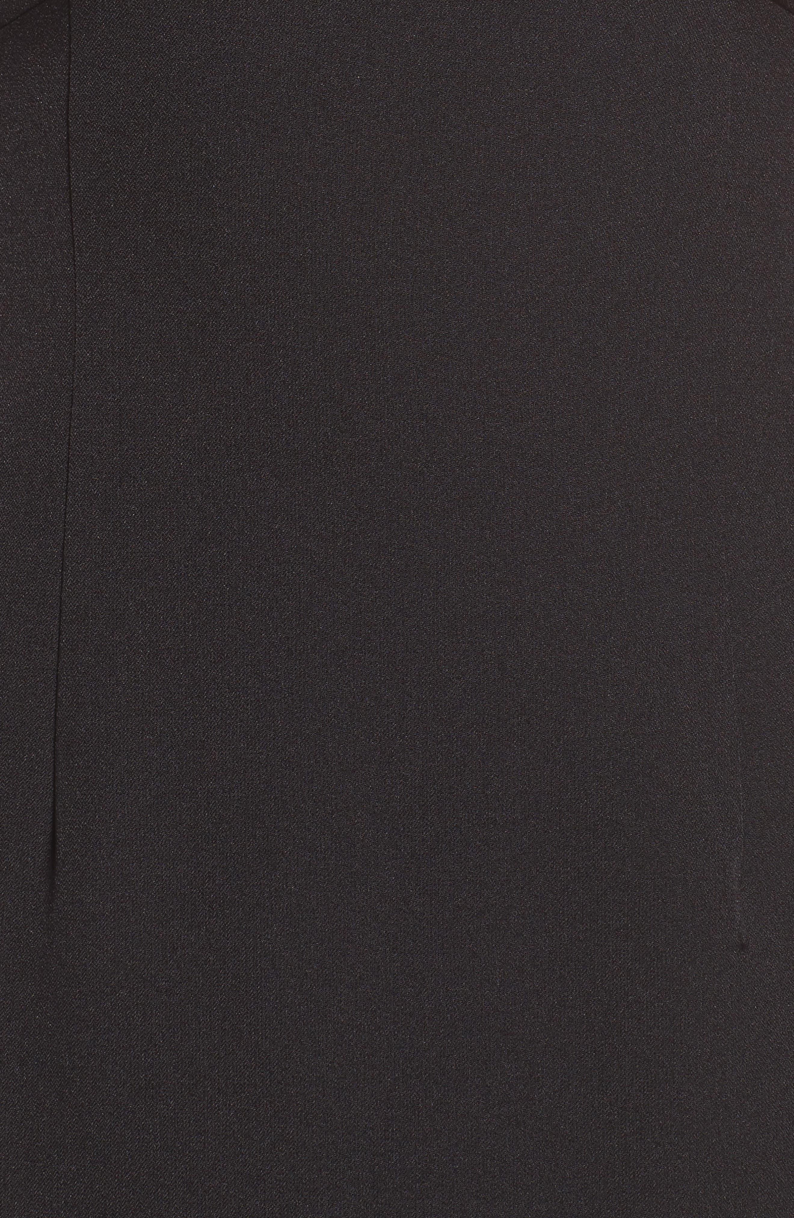 ADRIANNA PAPELL,                             Scalloped Crepe Sheath Dress,                             Alternate thumbnail 6, color,                             001