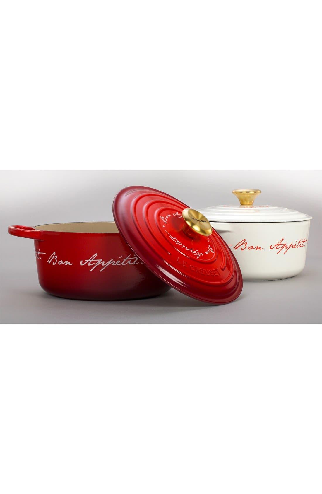 'Bon Appétit - Gold Knob' 4 1/2 Quart Round Enamel Cast Iron French/Dutch Oven,                             Alternate thumbnail 3, color,                             100