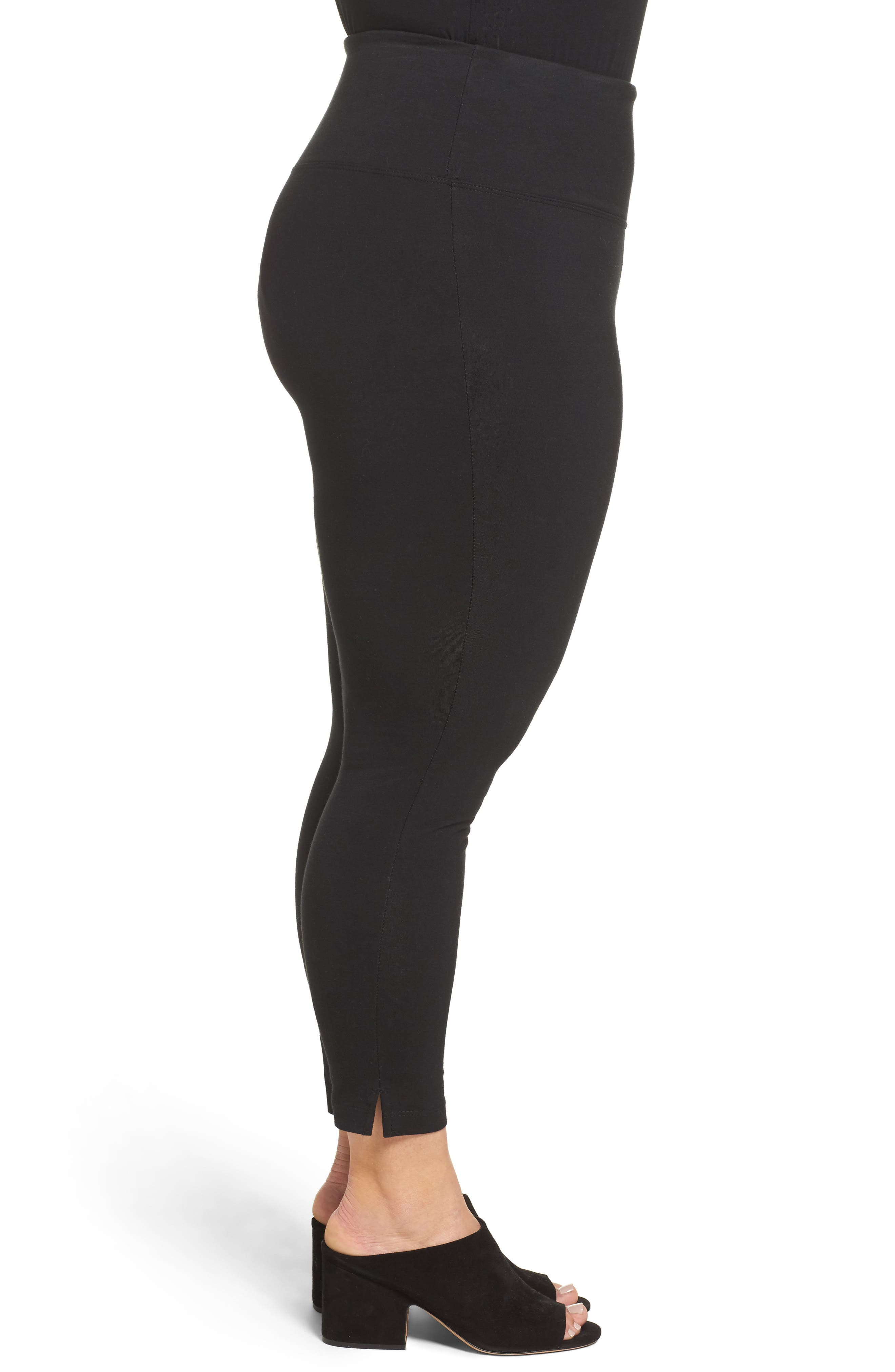 The Skinny High Rise Leggings,                             Alternate thumbnail 3, color,                             BLACK